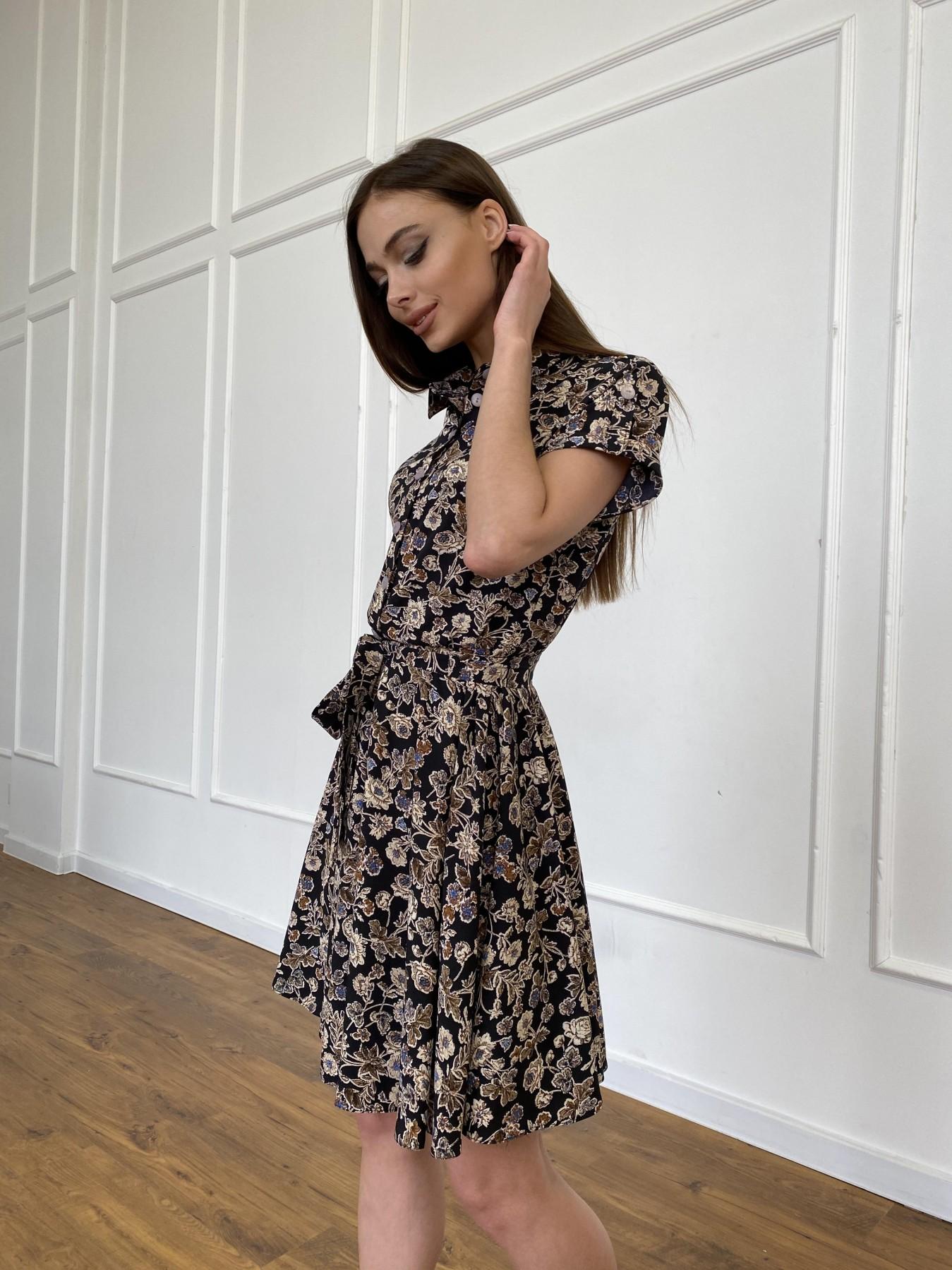 Санжар платье из ткани софт в принт 11215 АРТ. 47726 Цвет: Черный/т. беж, Цветы - фото 4, интернет магазин tm-modus.ru