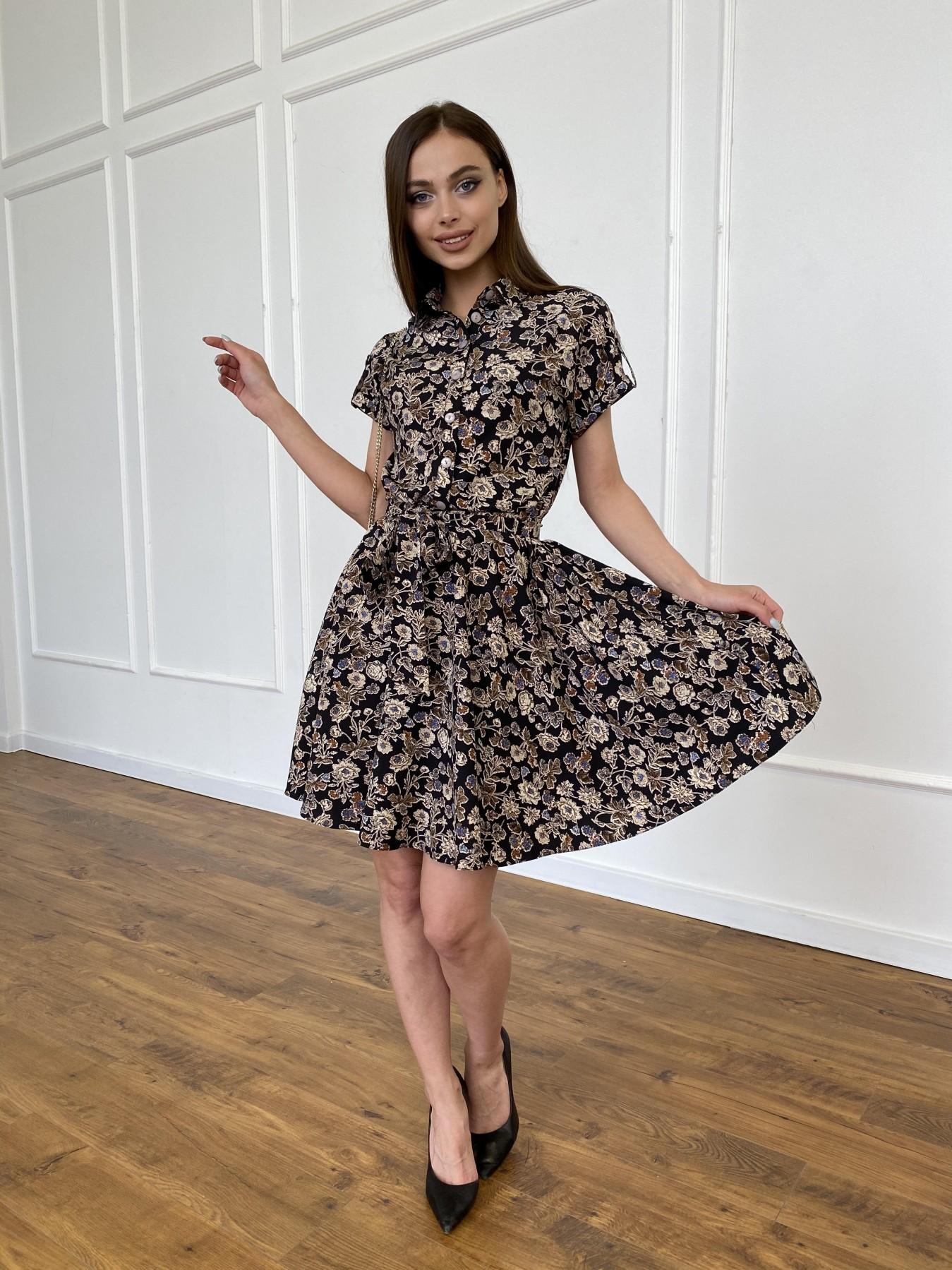 Санжар платье из ткани софт в принт 11215 АРТ. 47726 Цвет: Черный/т. беж, Цветы - фото 6, интернет магазин tm-modus.ru