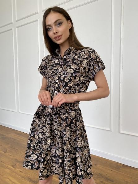 """Купить """"Санжар"""" платье из ткани софт в принт 11215 оптом и в розницу"""