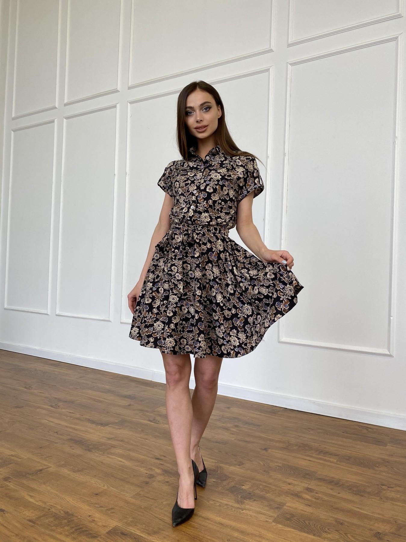 Санжар платье из ткани софт в принт 11215 АРТ. 47726 Цвет: Черный/т. беж, Цветы - фото 9, интернет магазин tm-modus.ru