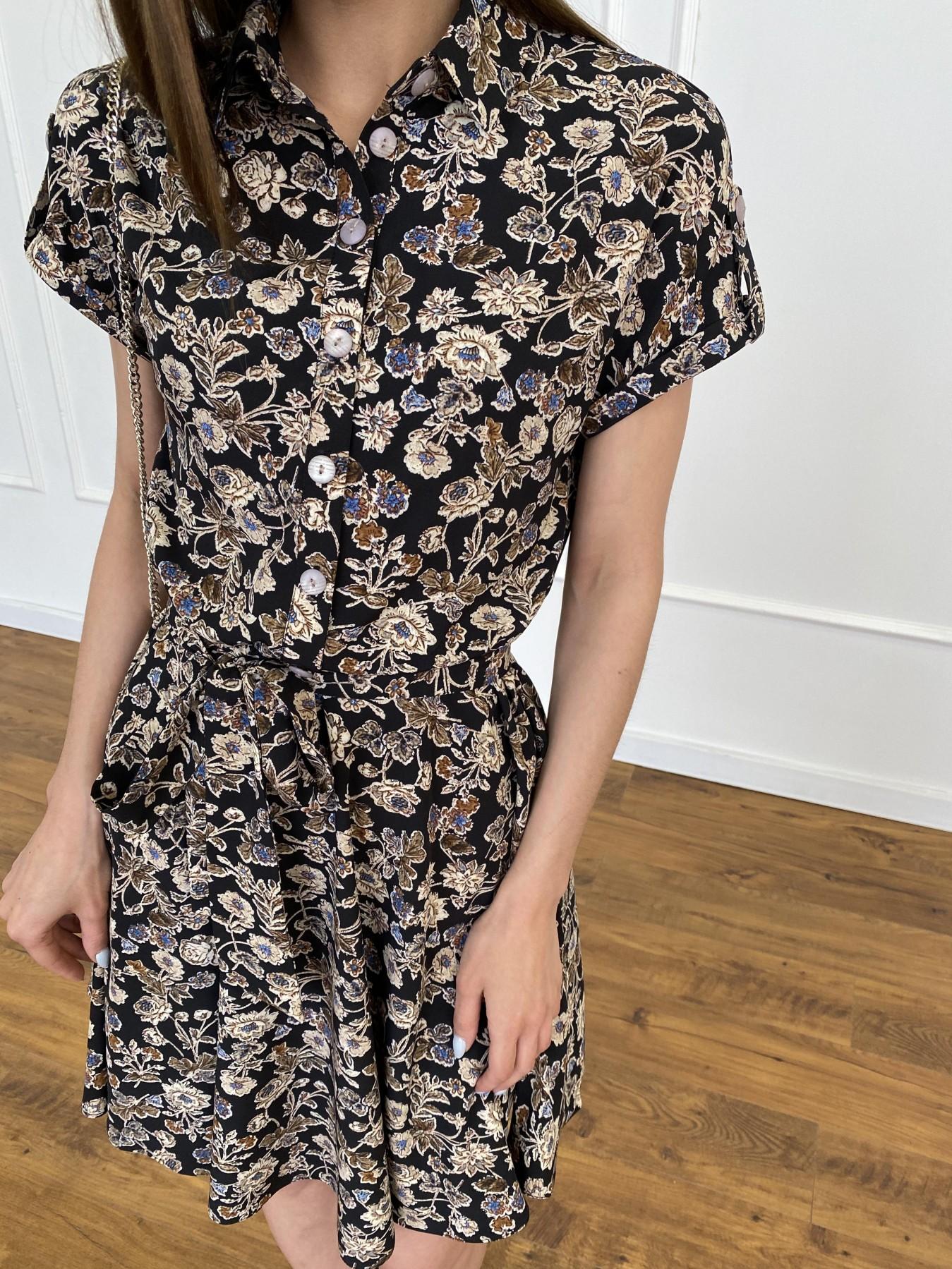 Санжар платье из ткани софт в принт 11215 АРТ. 47726 Цвет: Черный/т. беж, Цветы - фото 10, интернет магазин tm-modus.ru