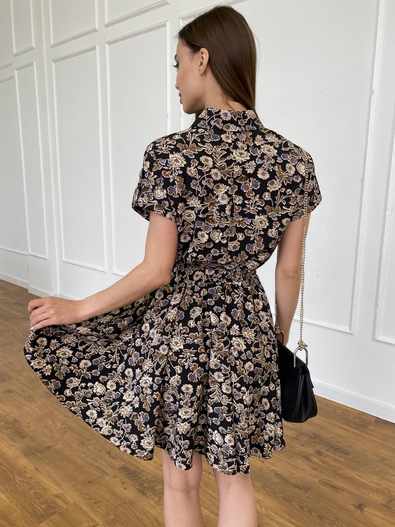 Санжар платье из ткани софт в принт 11215 АРТ. 47726 Цвет: Черный/т. беж, Цветы - фото 11, интернет магазин tm-modus.ru