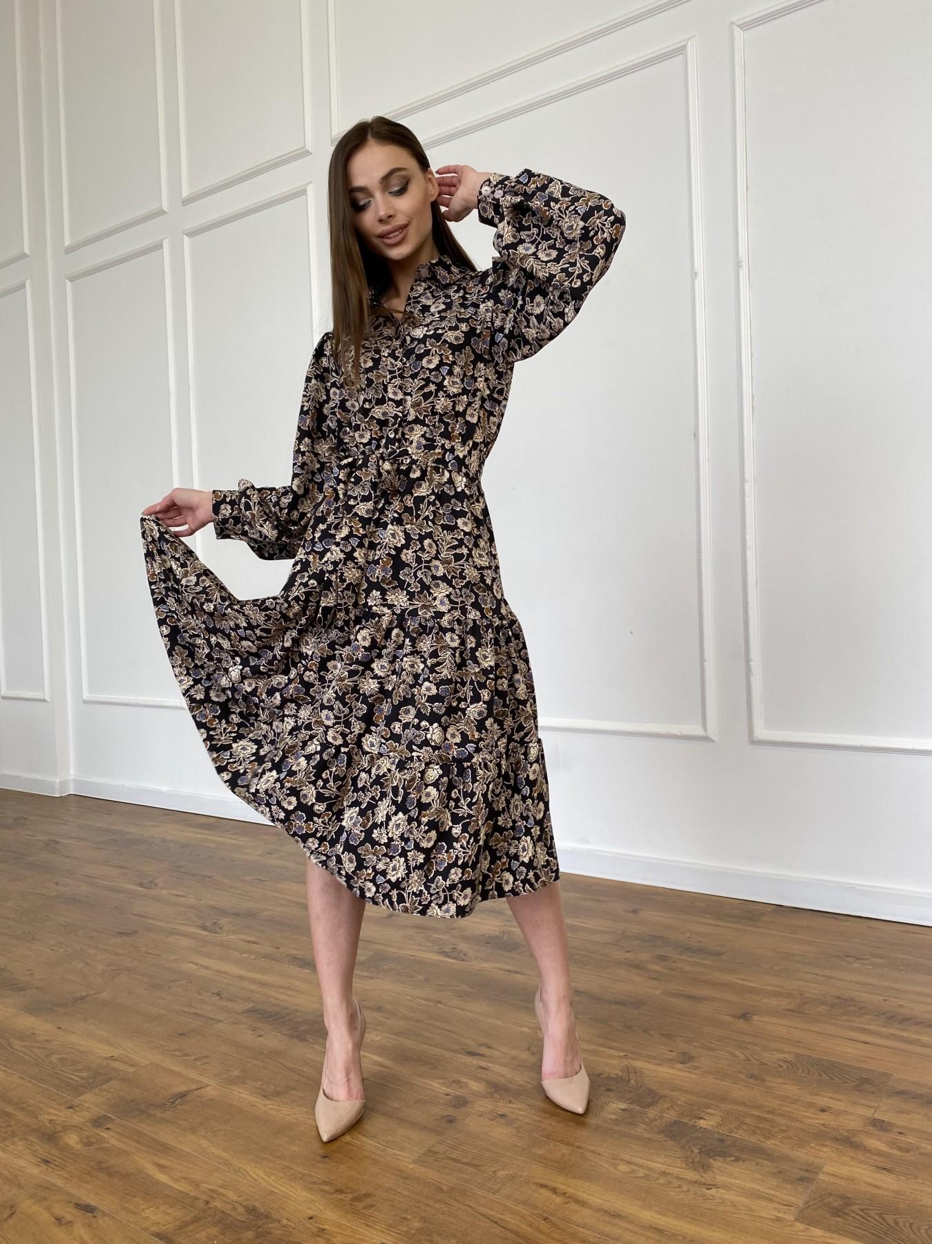 Лилия платье из софта с принтом 11108 АРТ. 47754 Цвет: Черный/молоко, Цветы - фото 2, интернет магазин tm-modus.ru