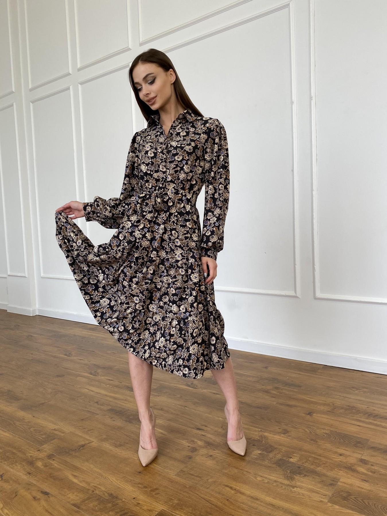 Лилия платье из софта с принтом 11108 АРТ. 47754 Цвет: Черный/молоко, Цветы - фото 3, интернет магазин tm-modus.ru