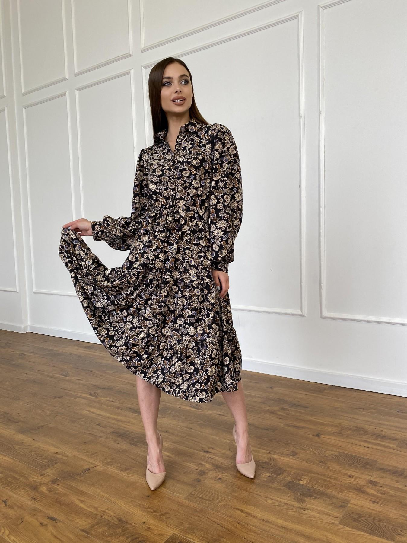 Лилия платье из софта с принтом 11108 АРТ. 47754 Цвет: Черный/молоко, Цветы - фото 4, интернет магазин tm-modus.ru