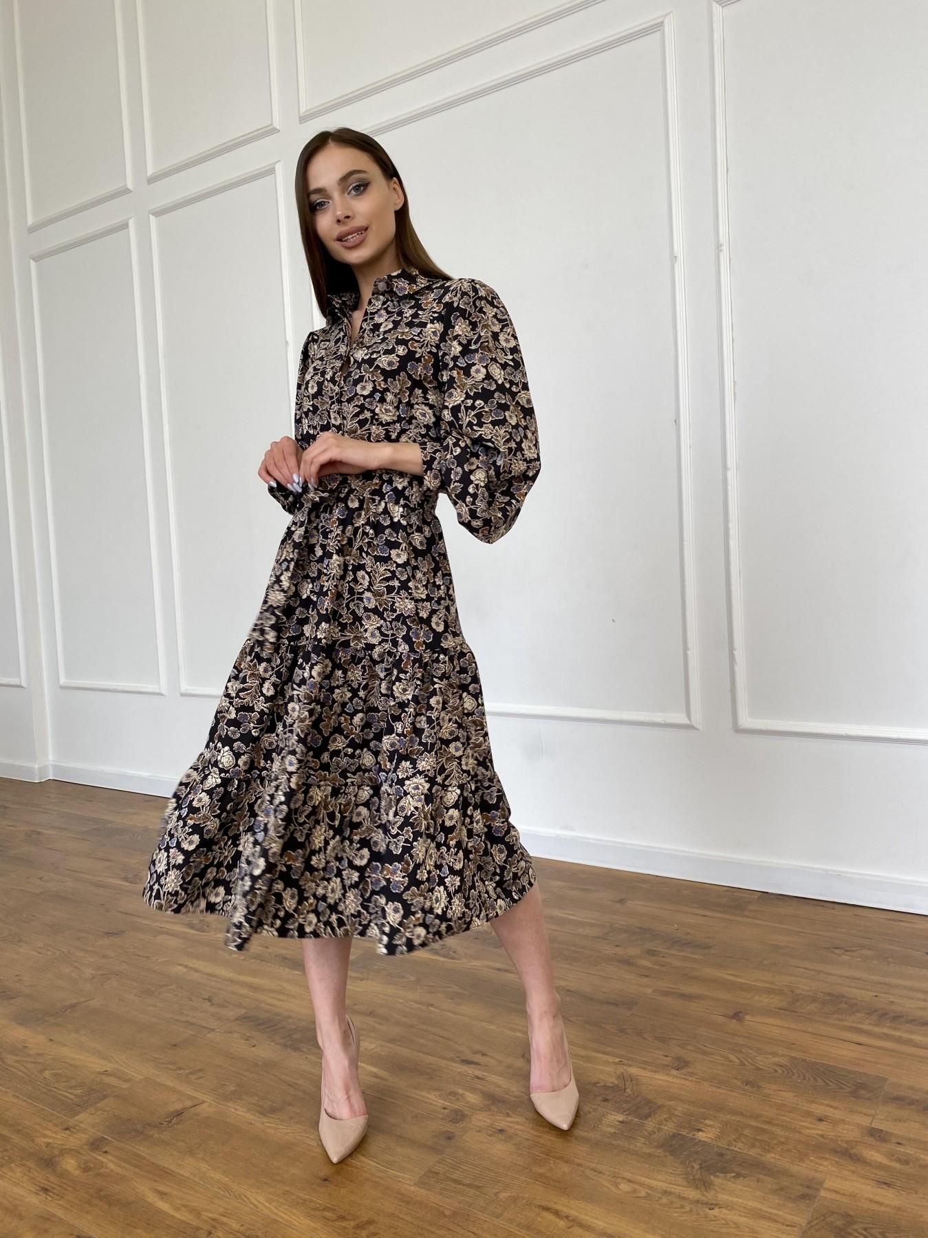 Лилия платье из софта с принтом 11108 АРТ. 47754 Цвет: Черный/молоко, Цветы - фото 5, интернет магазин tm-modus.ru