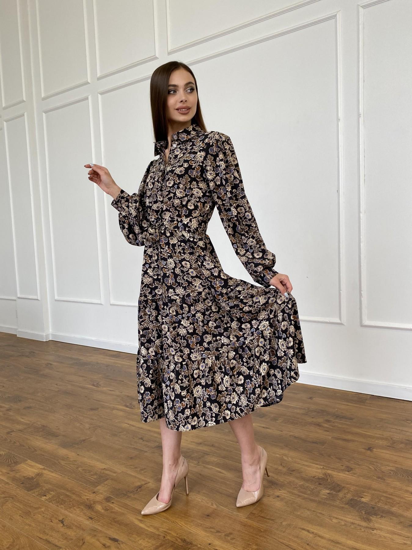 Лилия платье из софта с принтом 11108 АРТ. 47754 Цвет: Черный/молоко, Цветы - фото 7, интернет магазин tm-modus.ru