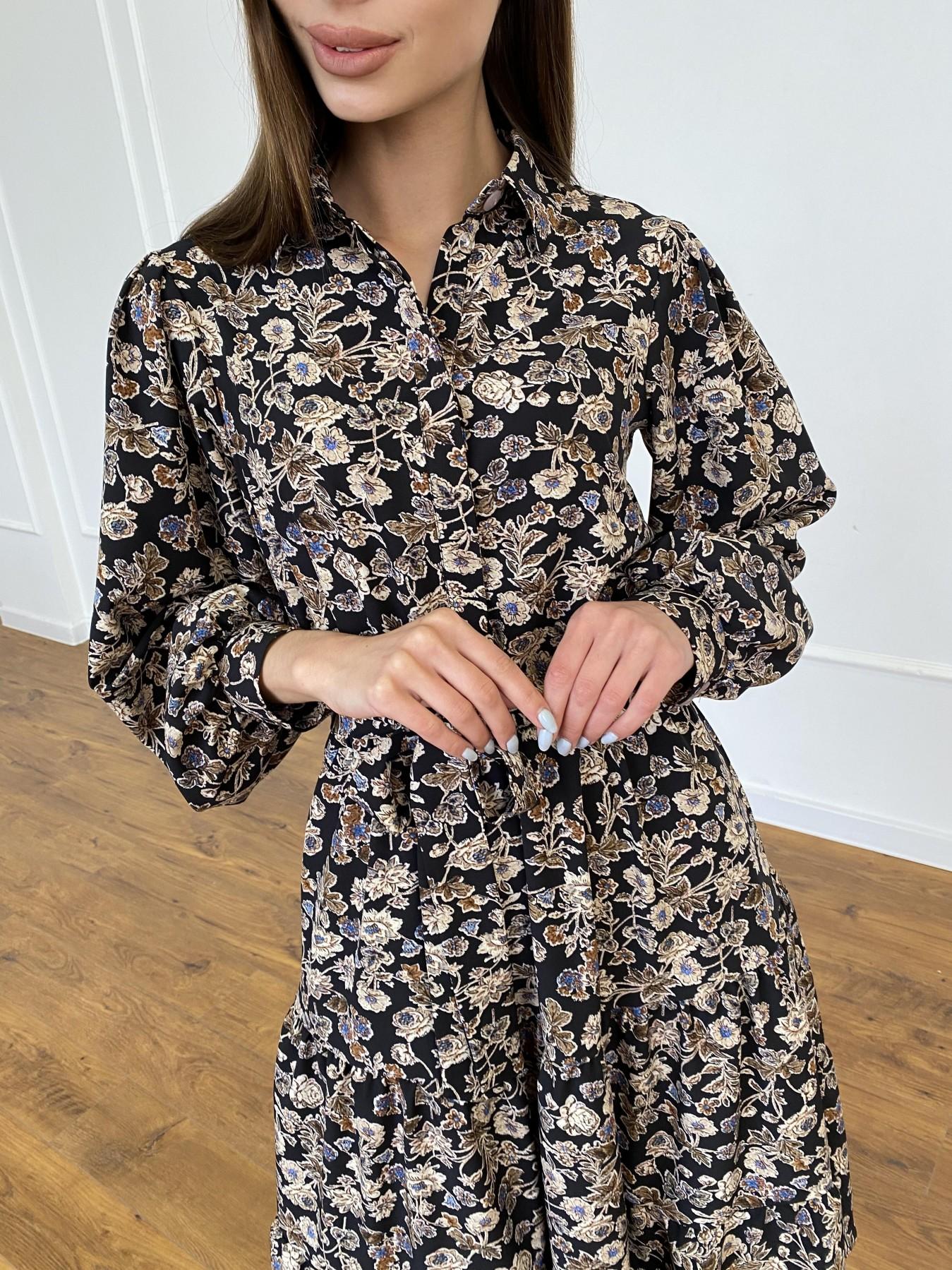 Лилия платье из софта с принтом 11108 АРТ. 47754 Цвет: Черный/молоко, Цветы - фото 9, интернет магазин tm-modus.ru