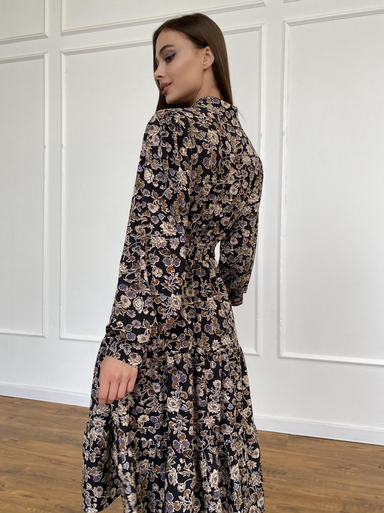 Лилия платье из софта с принтом 11108 АРТ. 47754 Цвет: Черный/молоко, Цветы - фото 12, интернет магазин tm-modus.ru