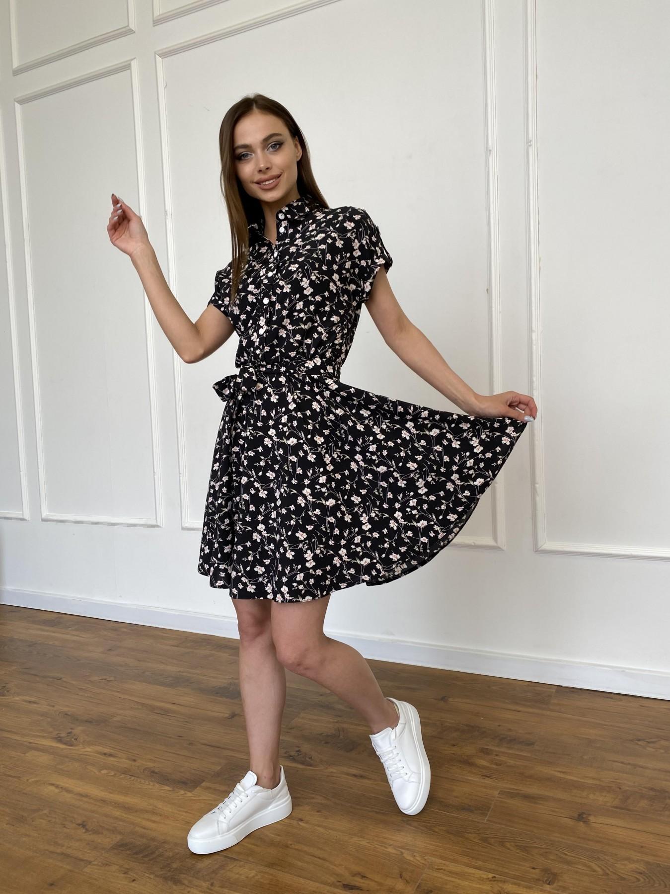 Санжар платье из ткани софт в принт 11215 АРТ. 47728 Цвет: Черный/молоко, Цветы - фото 1, интернет магазин tm-modus.ru