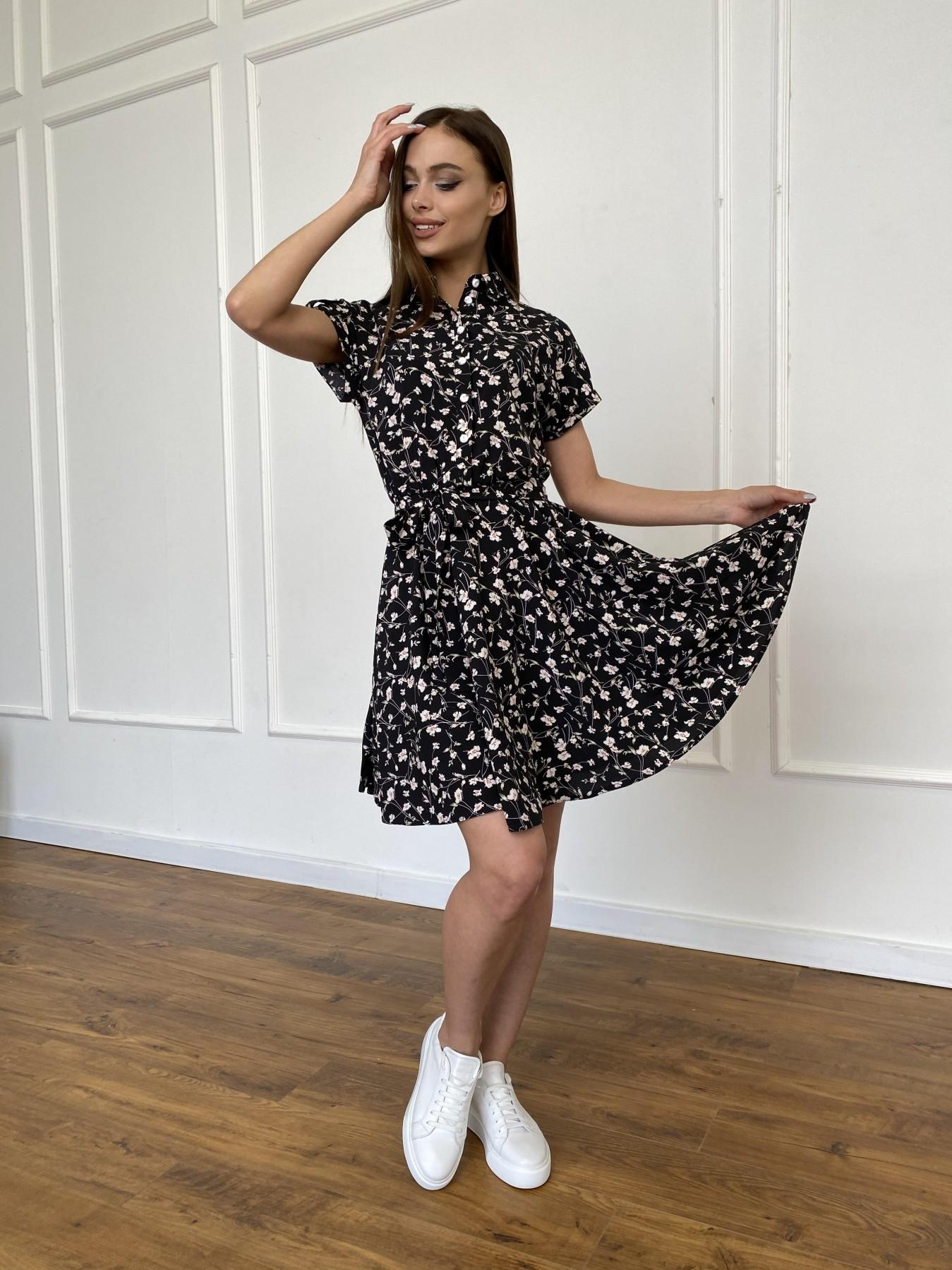 Санжар платье из ткани софт в принт 11215 АРТ. 47728 Цвет: Черный/молоко, Цветы - фото 2, интернет магазин tm-modus.ru