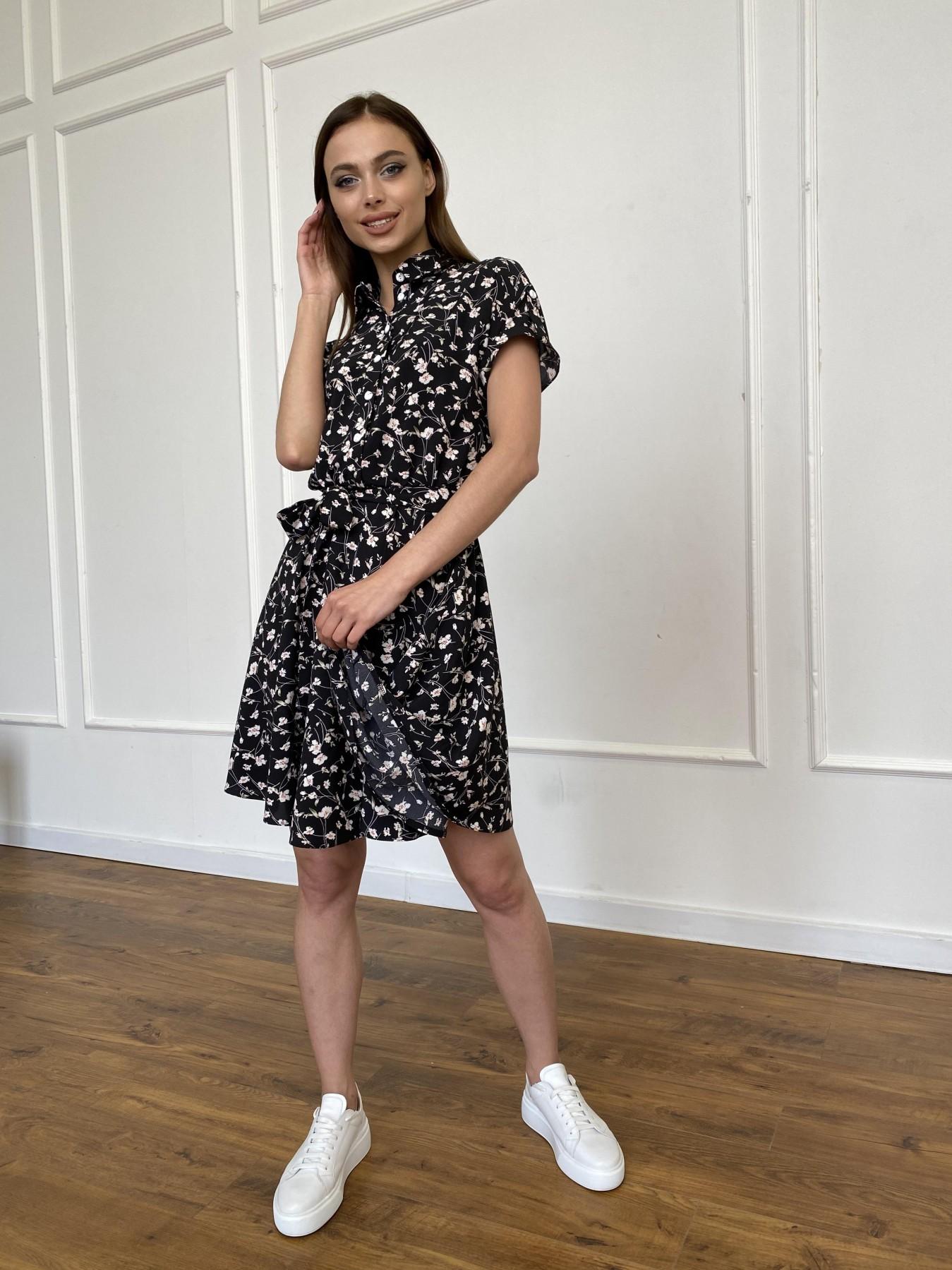 Санжар платье из ткани софт в принт 11215 АРТ. 47728 Цвет: Черный/молоко, Цветы - фото 3, интернет магазин tm-modus.ru