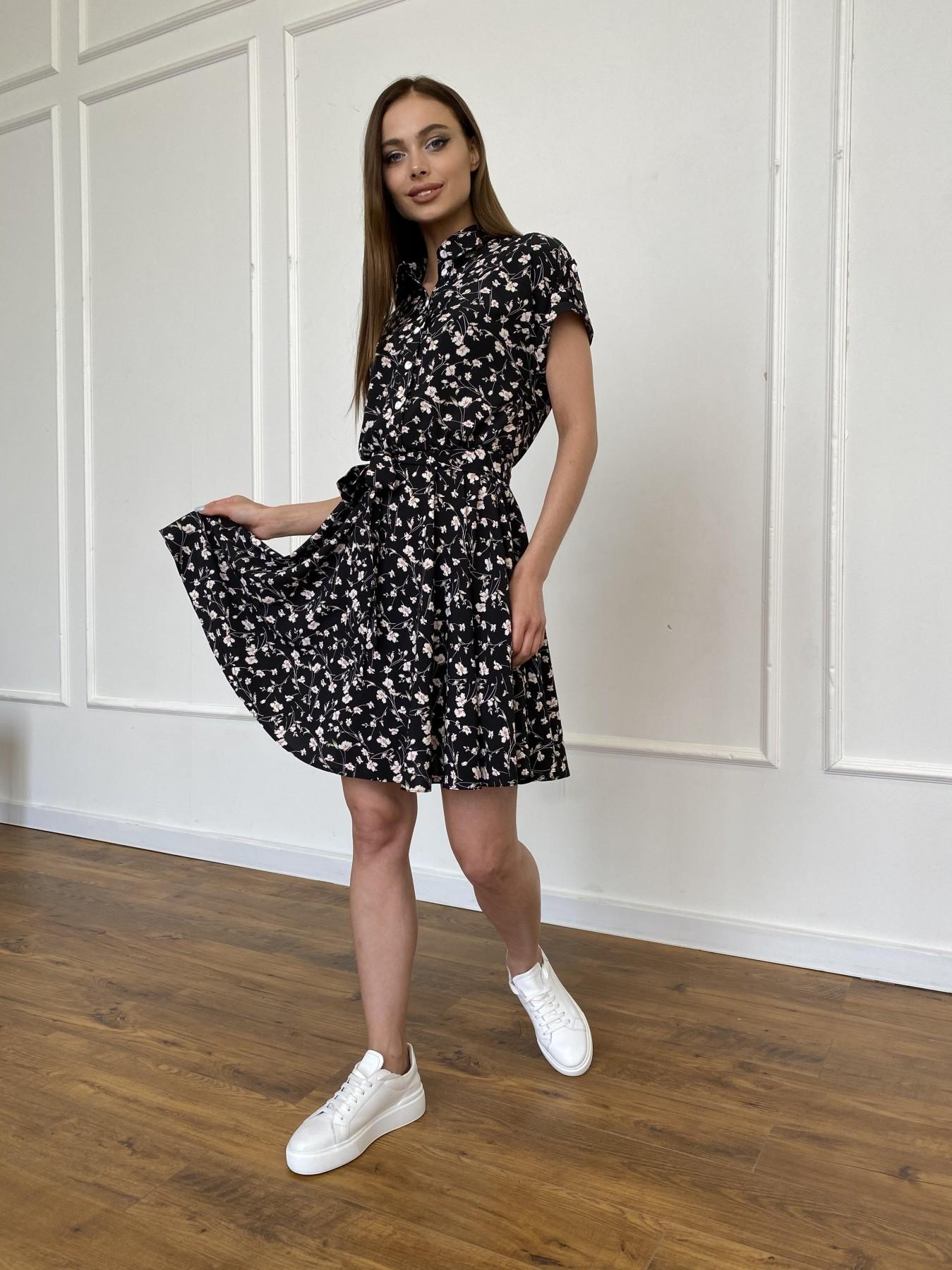 Санжар платье из ткани софт в принт 11215 АРТ. 47728 Цвет: Черный/молоко, Цветы - фото 4, интернет магазин tm-modus.ru