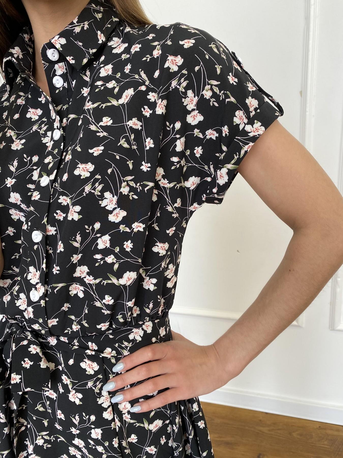 Санжар платье из ткани софт в принт 11215 АРТ. 47728 Цвет: Черный/молоко, Цветы - фото 5, интернет магазин tm-modus.ru