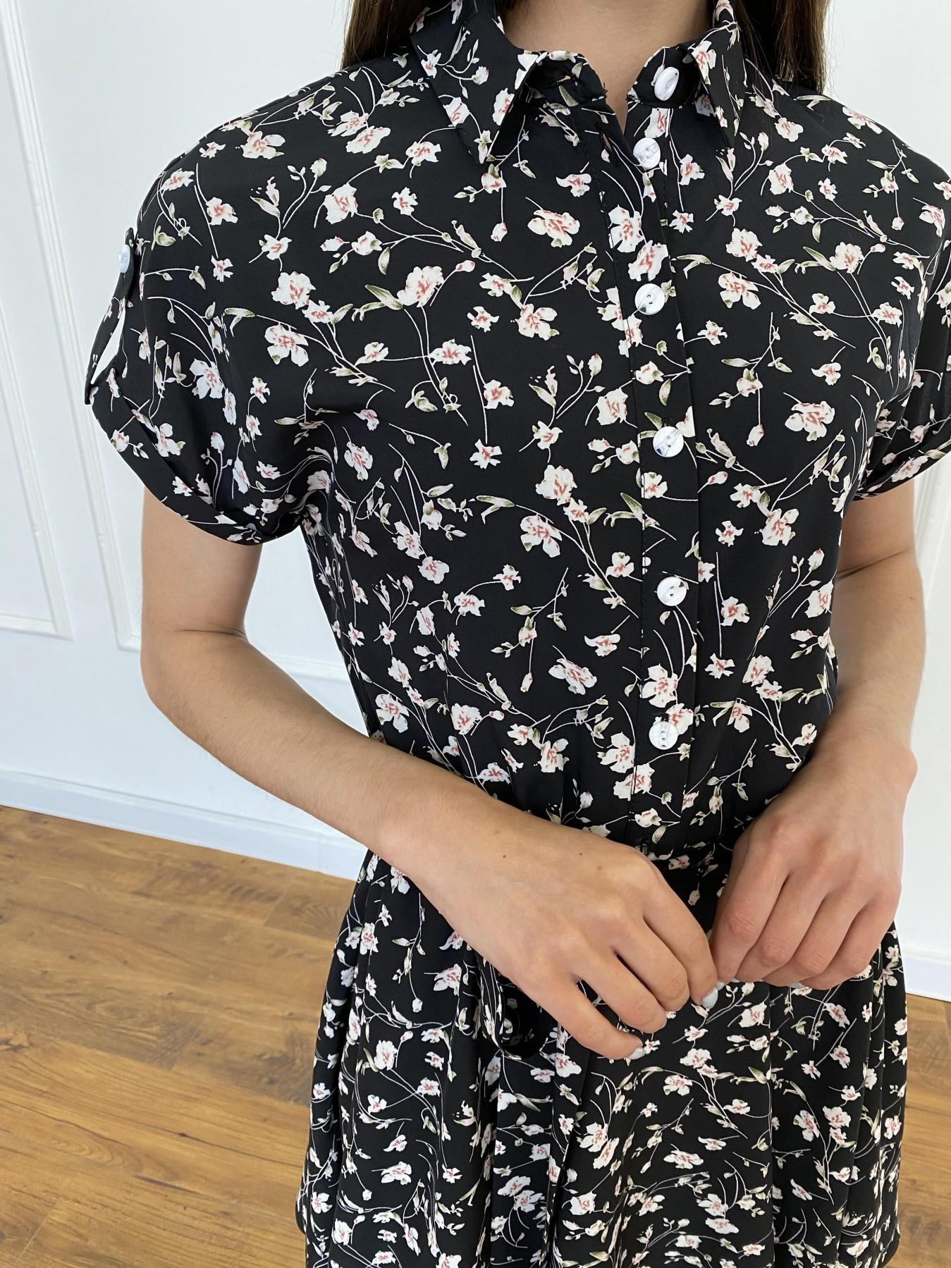 Санжар платье из ткани софт в принт 11215 АРТ. 47728 Цвет: Черный/молоко, Цветы - фото 6, интернет магазин tm-modus.ru