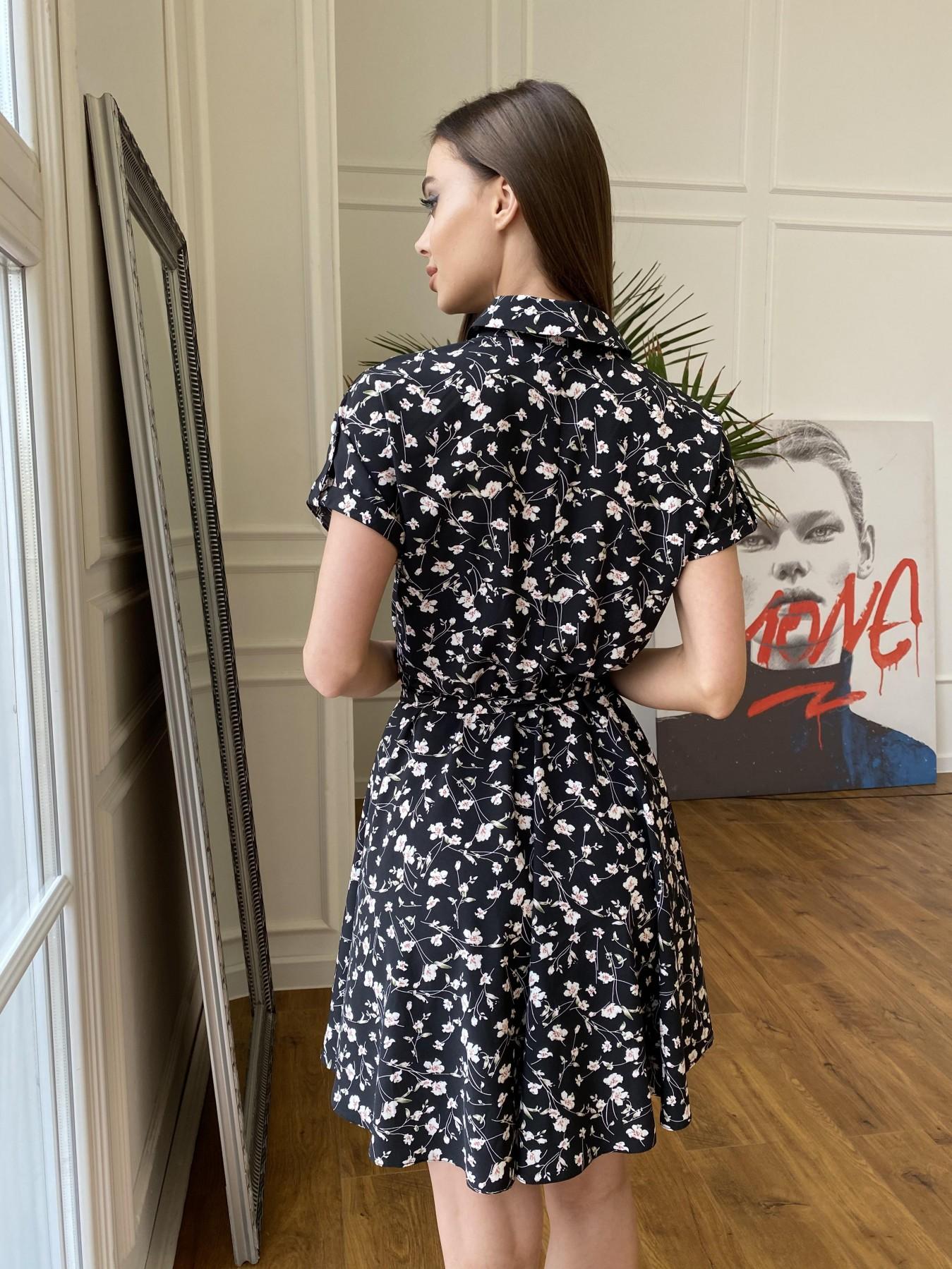 Санжар платье из ткани софт в принт 11215 АРТ. 47728 Цвет: Черный/молоко, Цветы - фото 10, интернет магазин tm-modus.ru