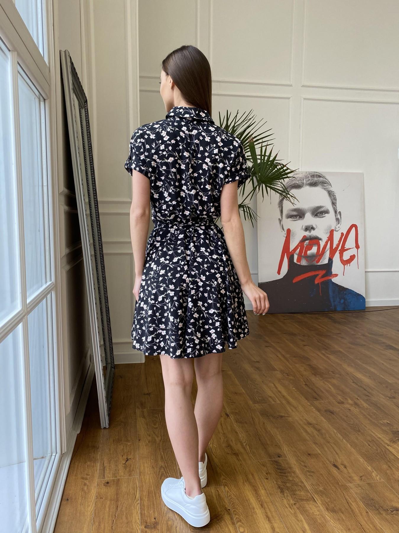 Санжар платье из ткани софт в принт 11215 АРТ. 47728 Цвет: Черный/молоко, Цветы - фото 11, интернет магазин tm-modus.ru
