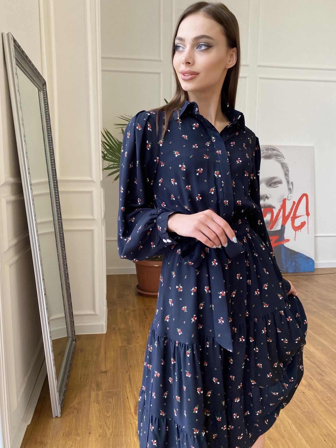 Лилия платье штапель в принт 10879 АРТ. 47753 Цвет: ЦветБукетМелТ.син/красн - фото 2, интернет магазин tm-modus.ru