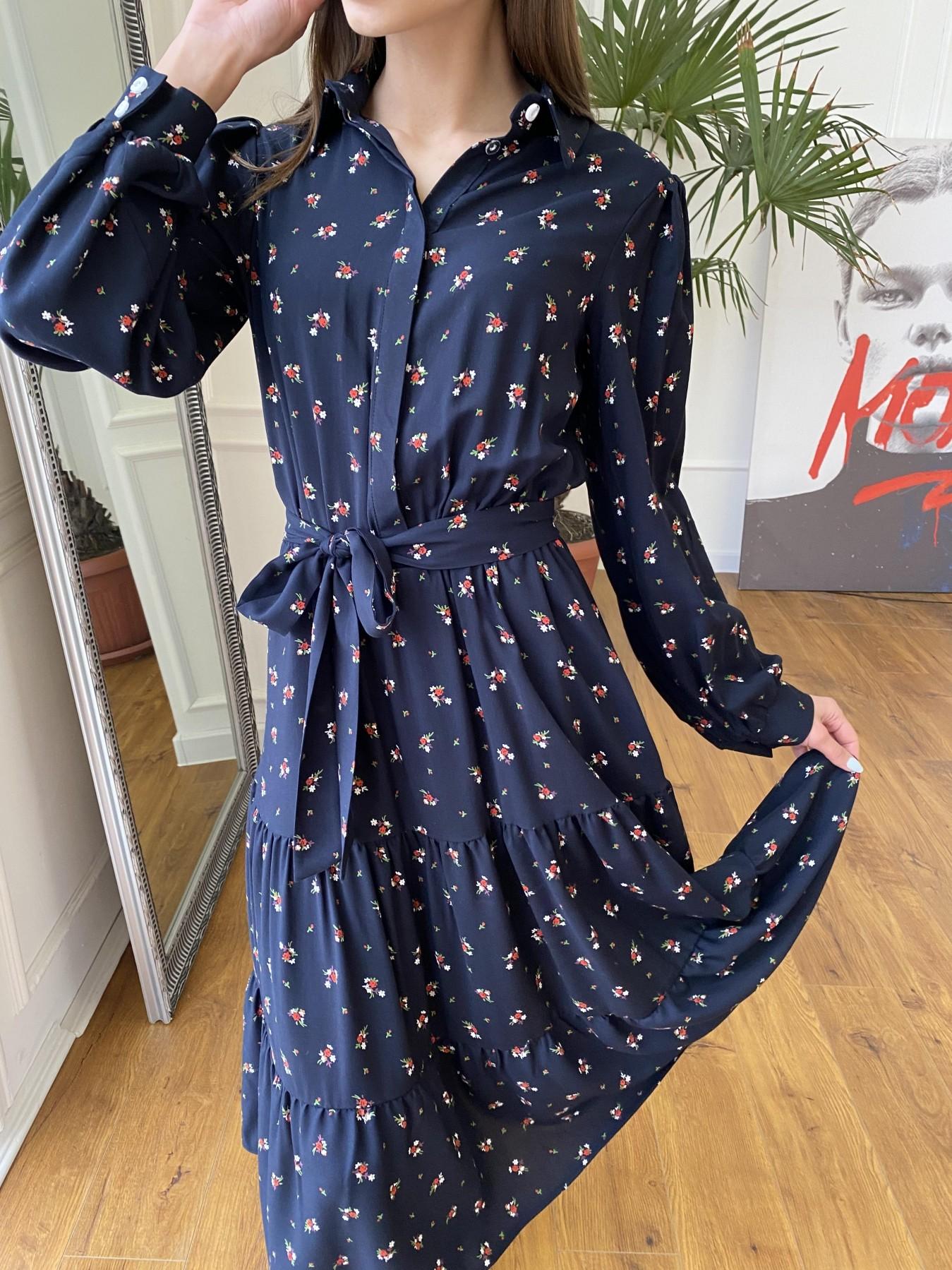 Лилия платье штапель в принт 10879 АРТ. 47753 Цвет: ЦветБукетМелТ.син/красн - фото 3, интернет магазин tm-modus.ru