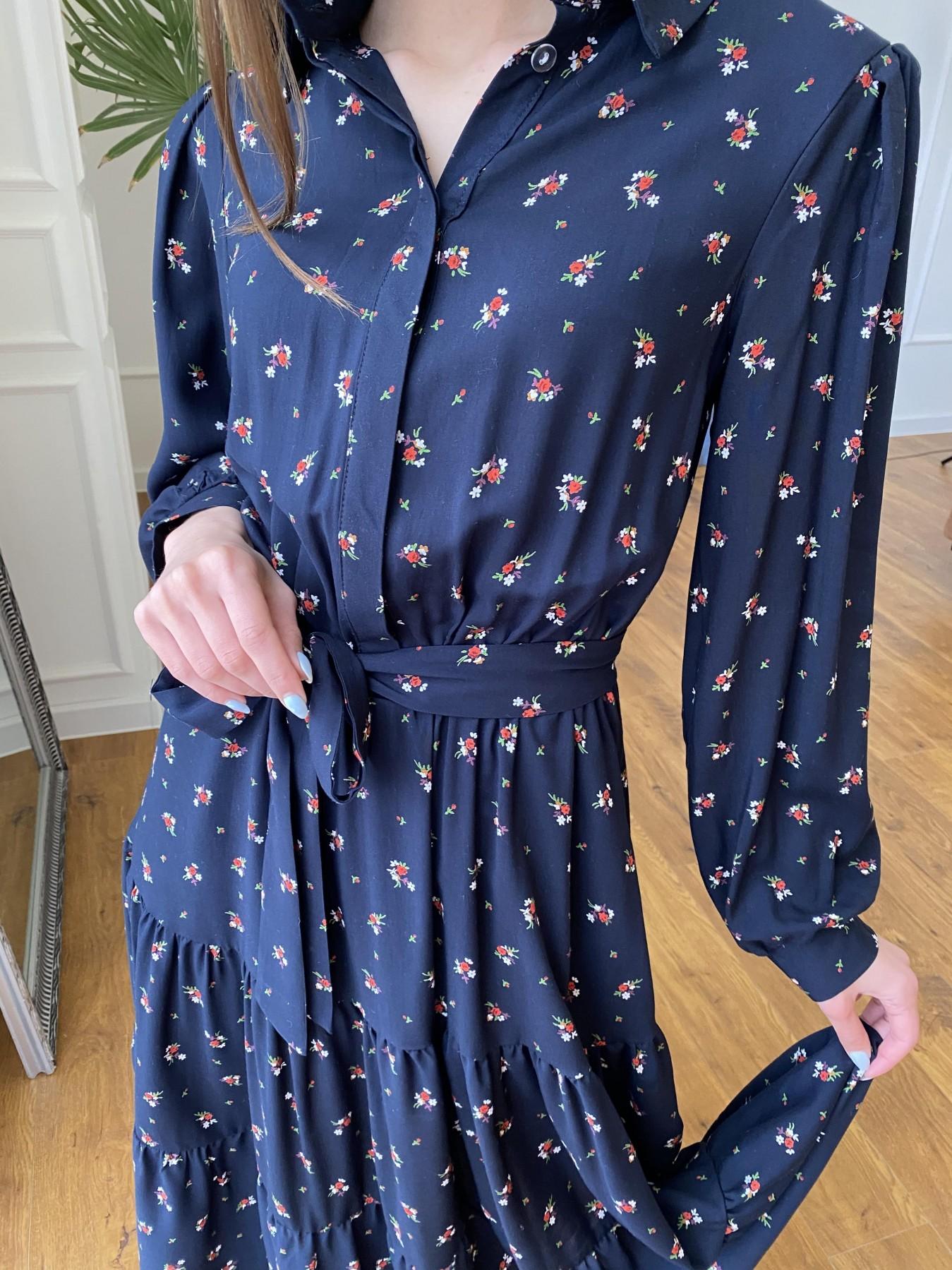 Лилия платье штапель в принт 10879 АРТ. 47753 Цвет: ЦветБукетМелТ.син/красн - фото 4, интернет магазин tm-modus.ru