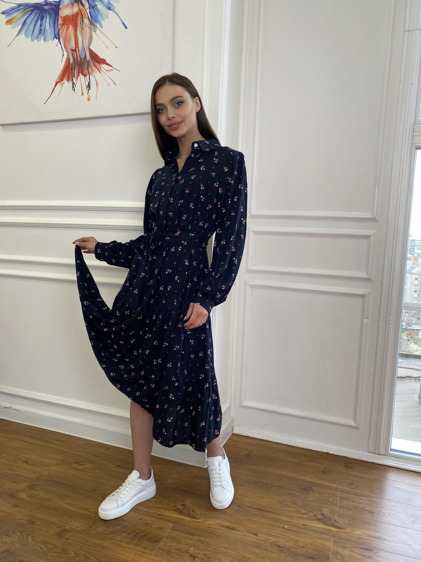 Лилия платье штапель в принт 10879 АРТ. 47753 Цвет: ЦветБукетМелТ.син/красн - фото 5, интернет магазин tm-modus.ru