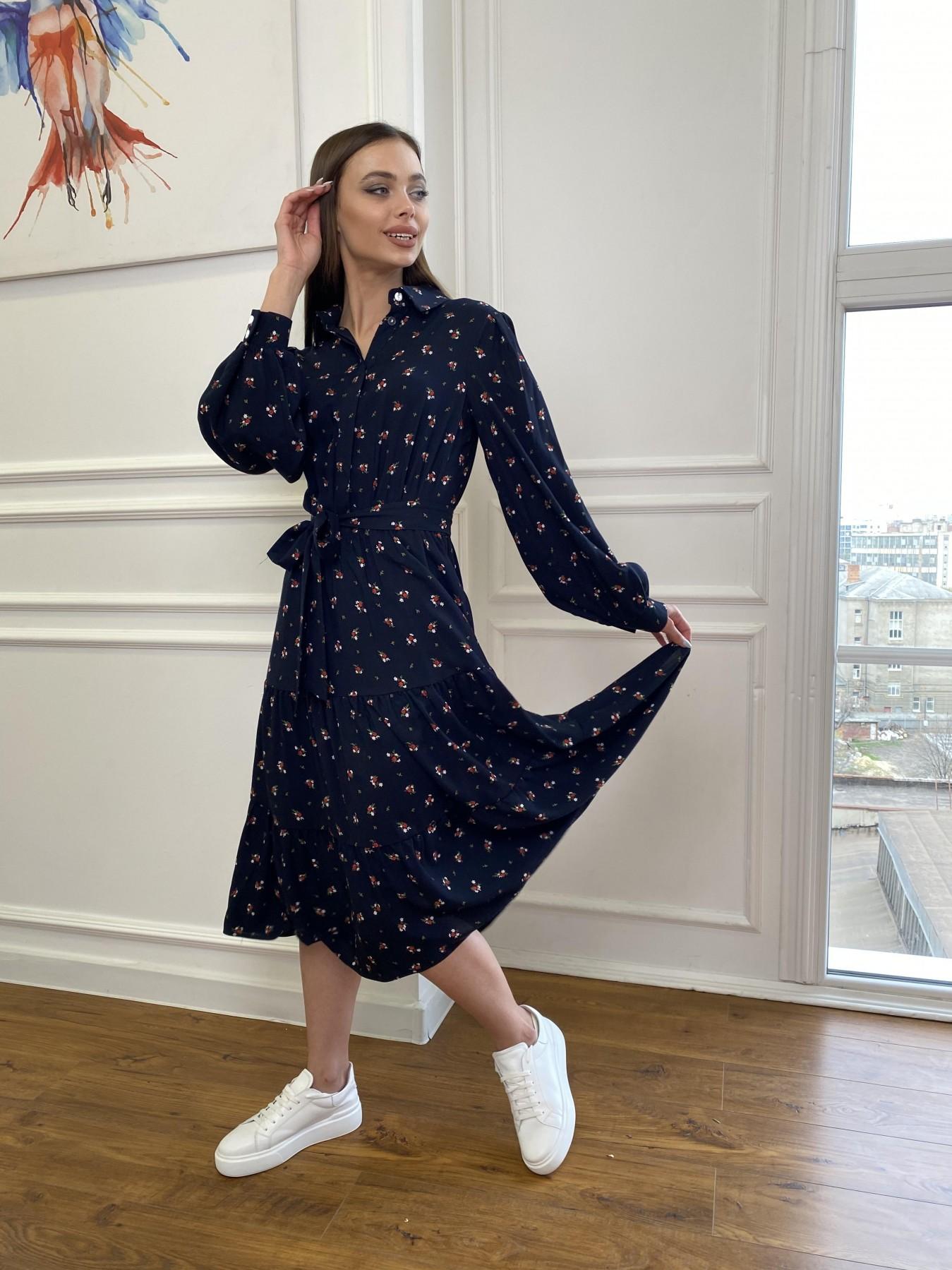 Лилия платье штапель в принт 10879 АРТ. 47753 Цвет: ЦветБукетМелТ.син/красн - фото 6, интернет магазин tm-modus.ru