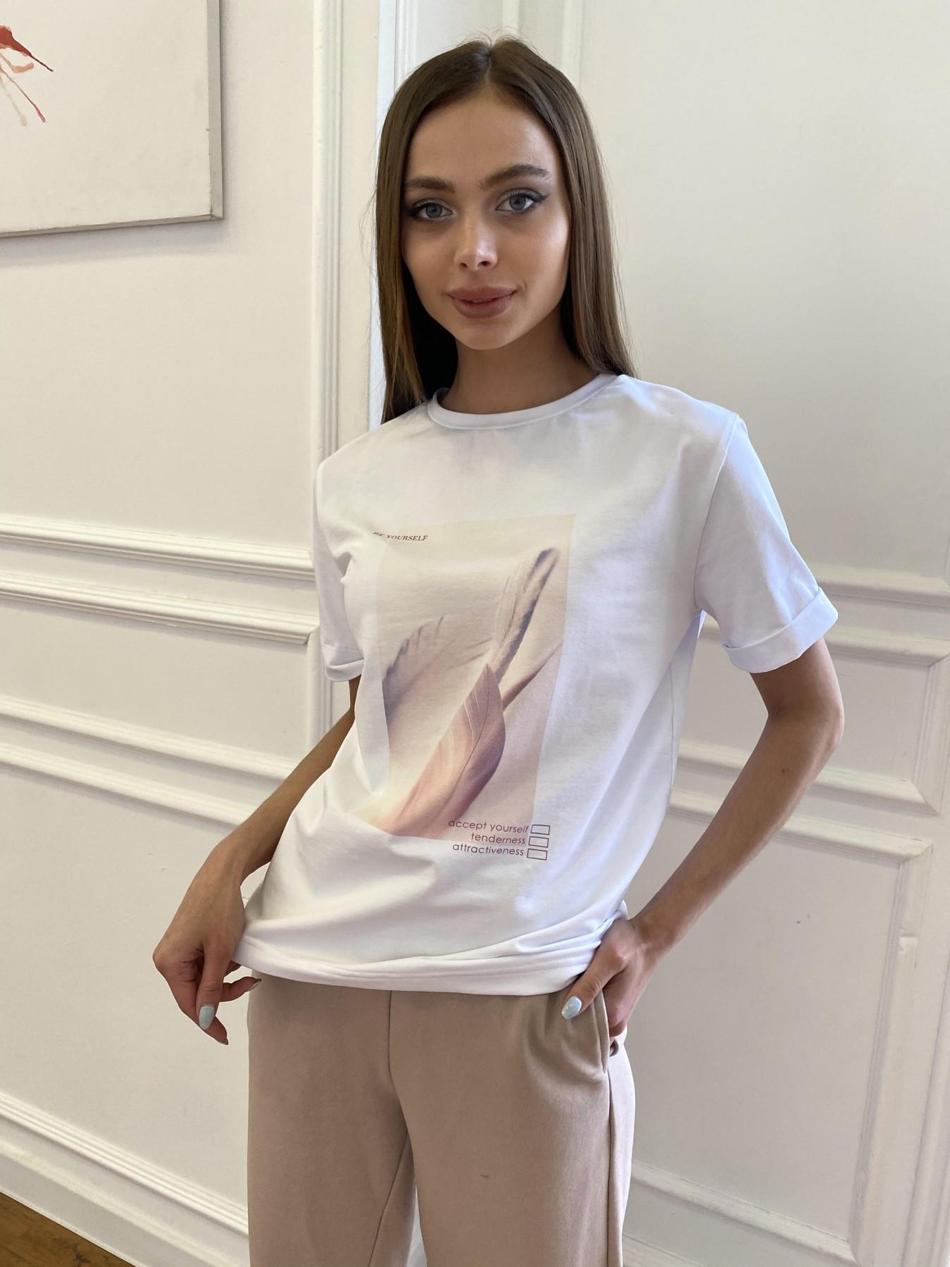 Перо футболка из вискозы однотонная хлопок 11230 АРТ. 47751 Цвет: Белый - фото 1, интернет магазин tm-modus.ru