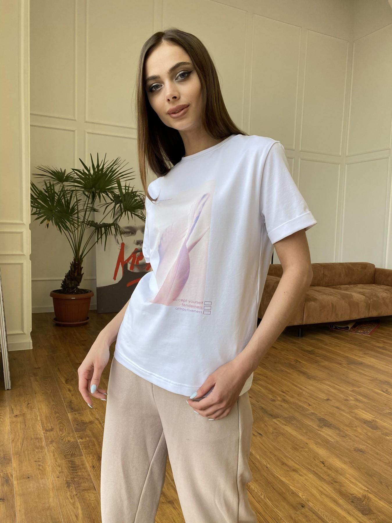 Перо футболка из вискозы однотонная хлопок 11230 АРТ. 47751 Цвет: Белый - фото 4, интернет магазин tm-modus.ru