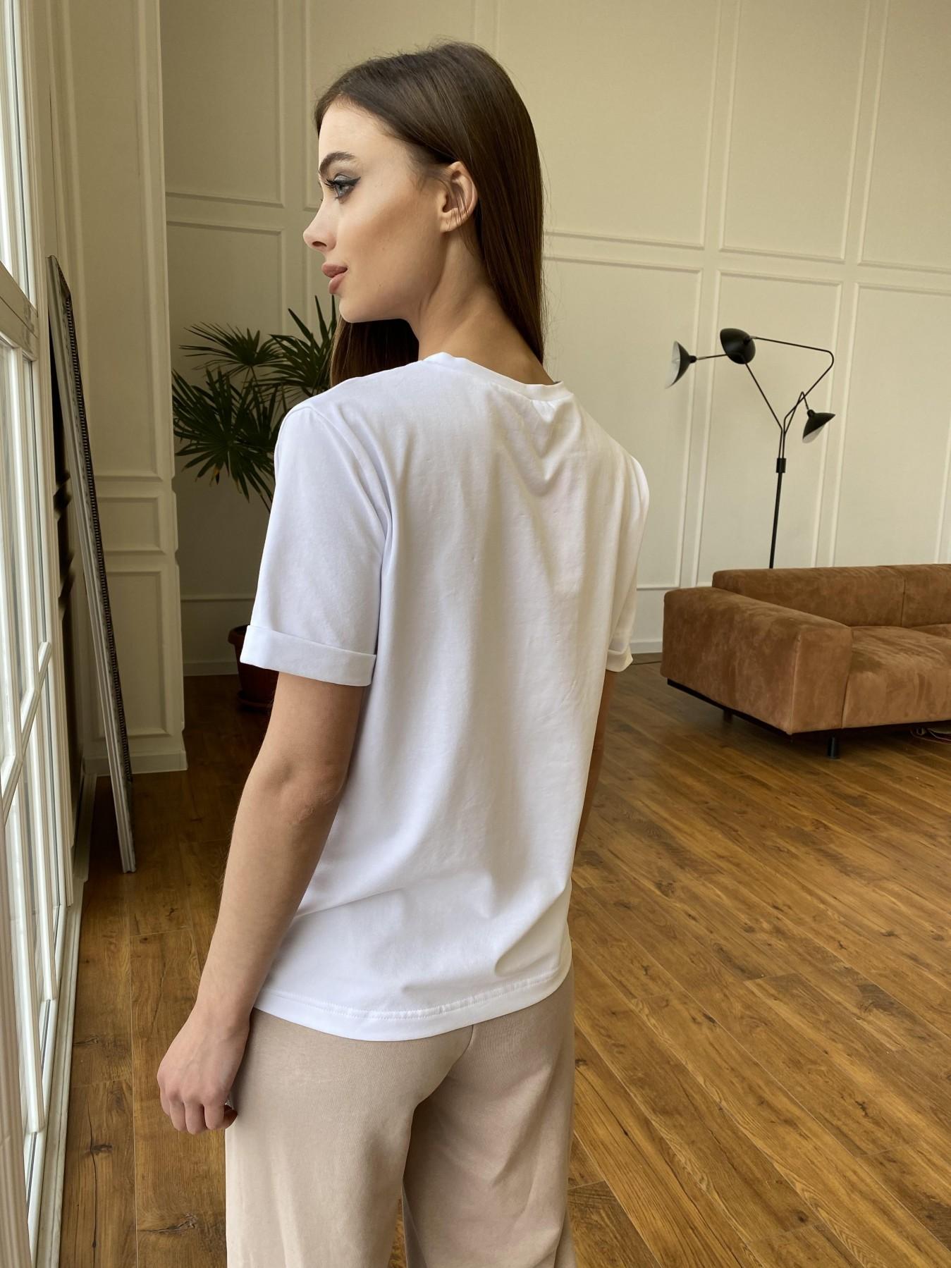 Перо футболка из вискозы однотонная хлопок 11230 АРТ. 47751 Цвет: Белый - фото 5, интернет магазин tm-modus.ru