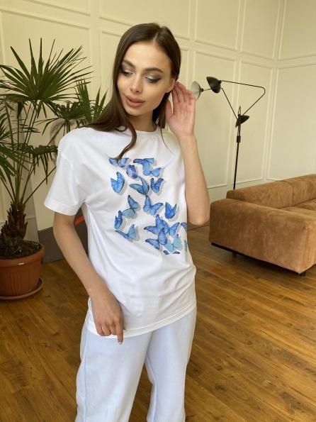 """Купить """"Бабочки"""" футболка из вискозы однотонная хлопок 11232 оптом и в розницу"""