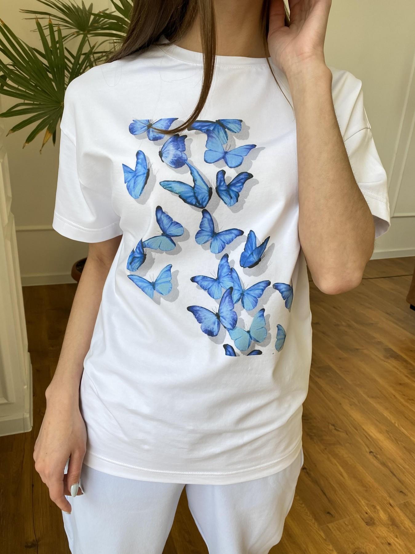 Бабочки футболка из вискозы однотонная хлопок 11232 АРТ. 47752 Цвет: Белый - фото 2, интернет магазин tm-modus.ru