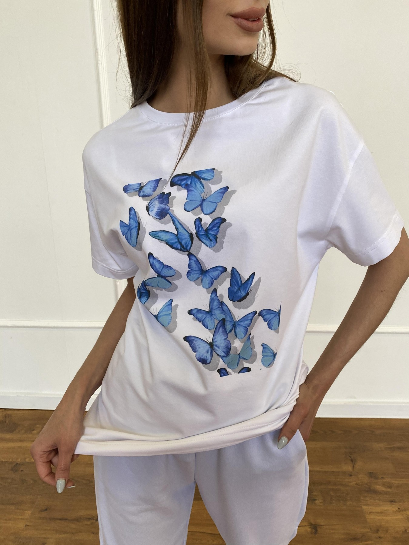 Бабочки футболка из вискозы однотонная хлопок 11232 АРТ. 47752 Цвет: Белый - фото 6, интернет магазин tm-modus.ru