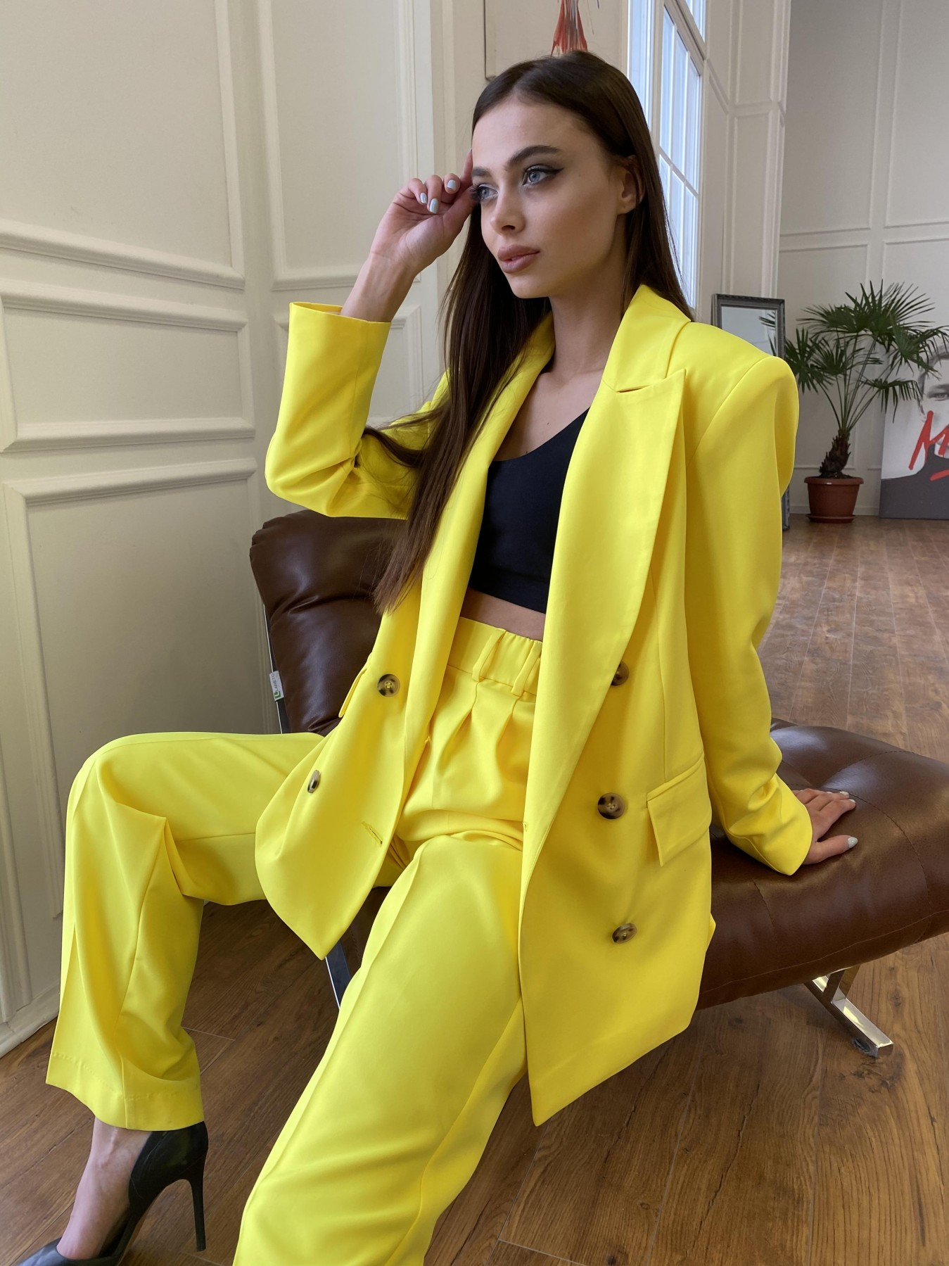 Белисимо  костюм стрейч из костюмной ткани 11217 Цвет: Желтый 10