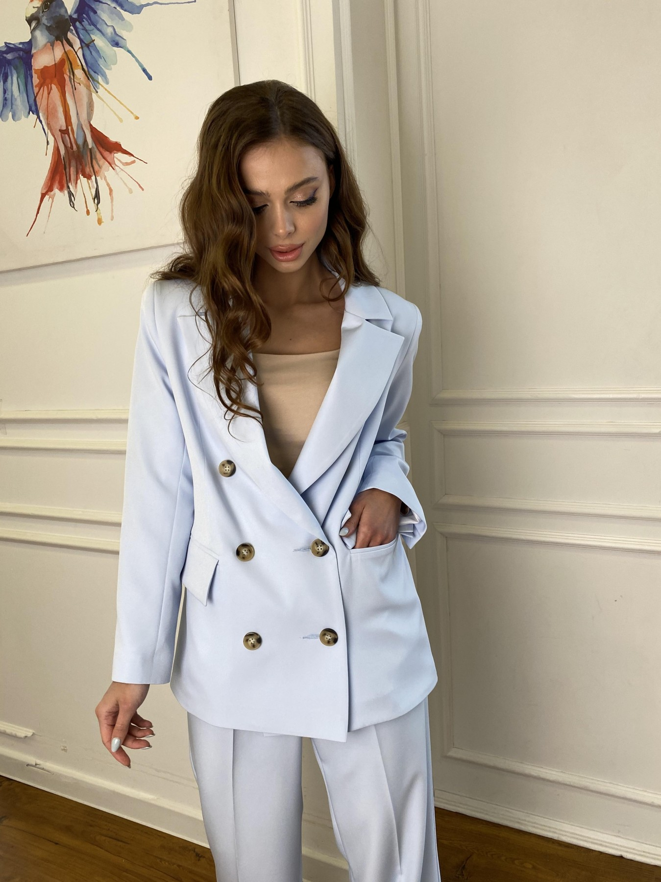 Белисимо  костюм стрейч из костюмной ткани 11217 АРТ. 47737 Цвет: Голубой - фото 6, интернет магазин tm-modus.ru