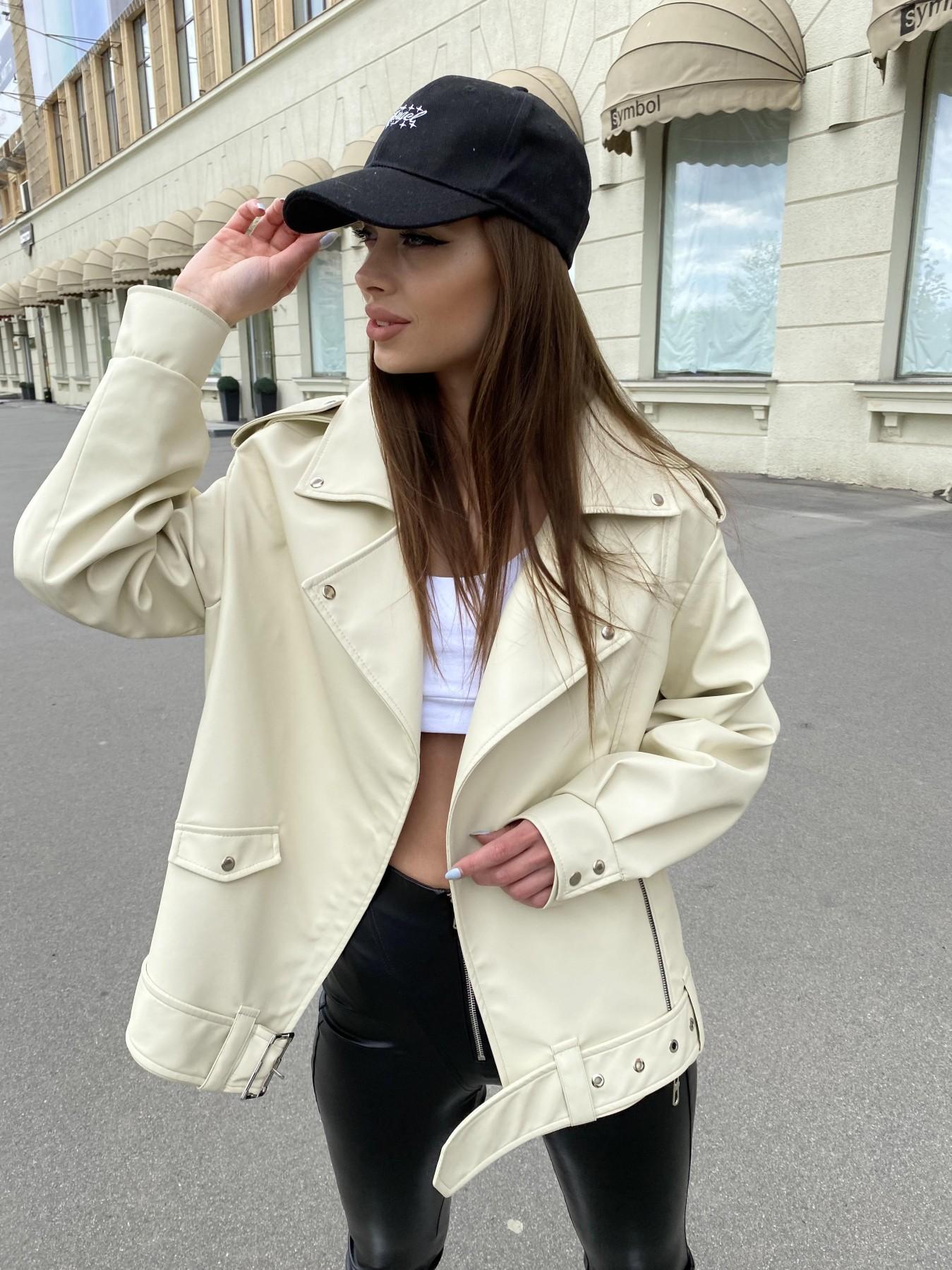 Фора куртка из экокожи прокатанная 11204 АРТ. 47783 Цвет: Бежевый Светлый - фото 1, интернет магазин tm-modus.ru