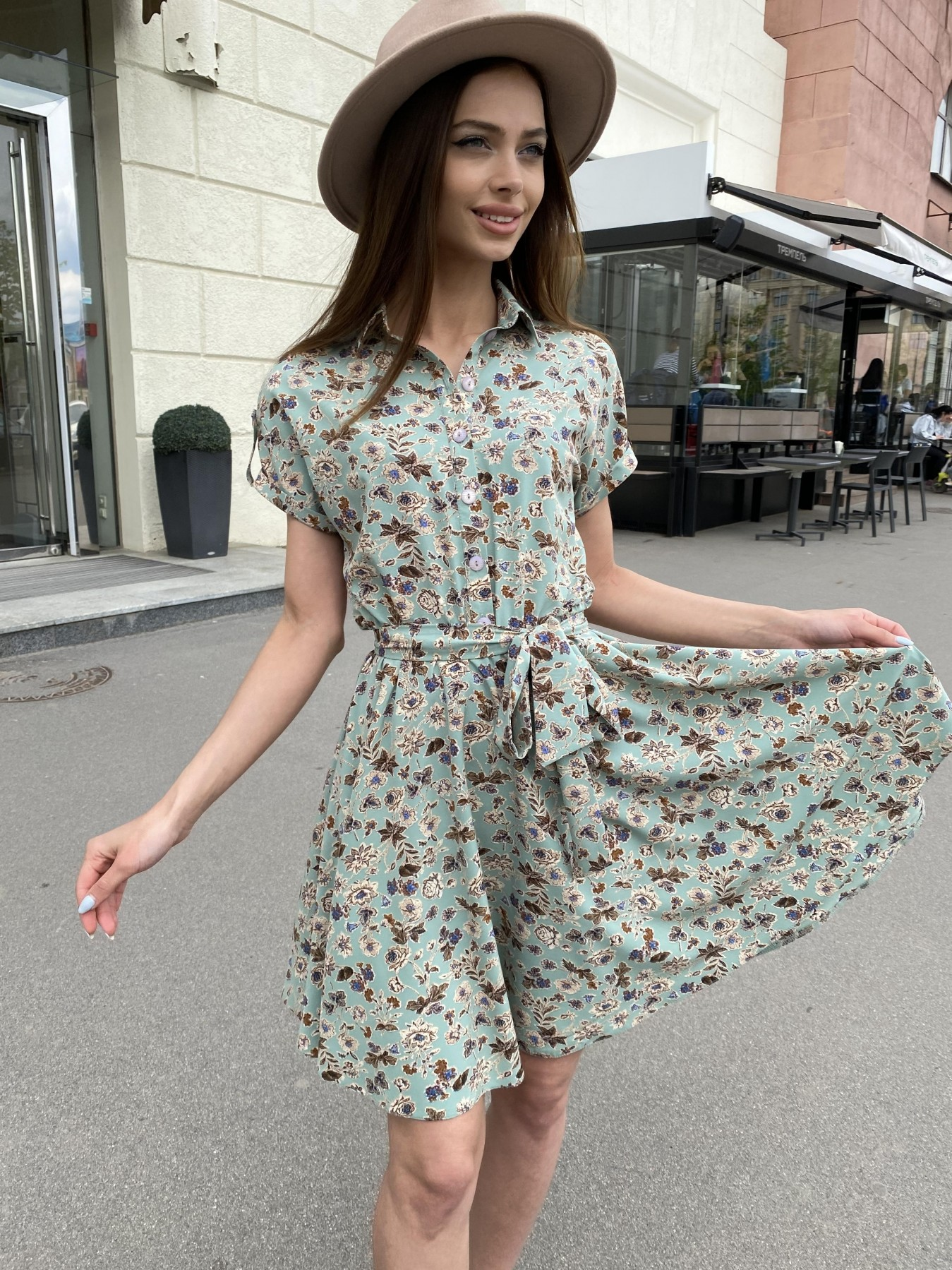 Купить платья в интернет магазине Санжар платье из ткани софт в принт 11215