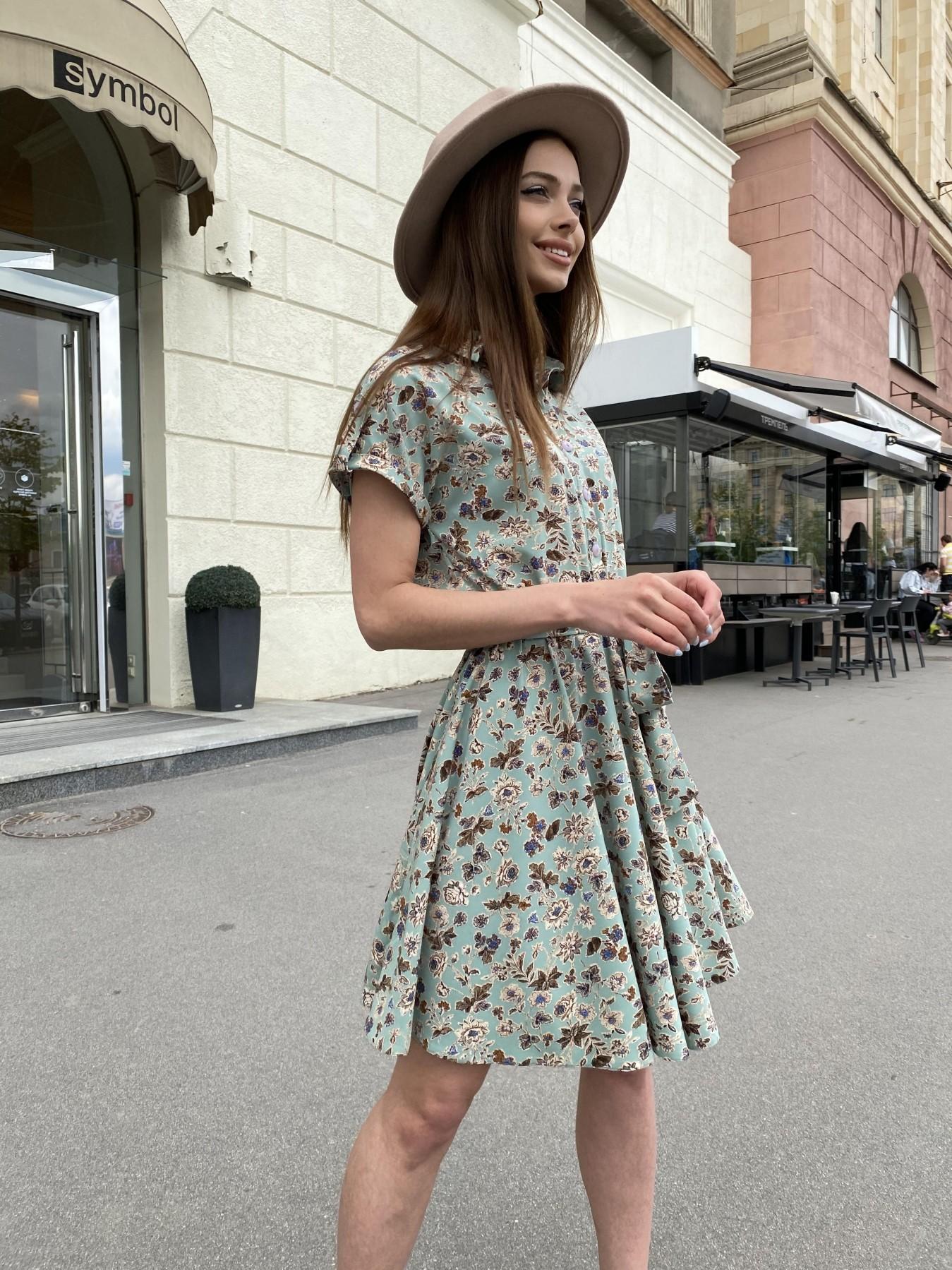 Санжар платье из ткани софт в принт 11215 АРТ. 47727 Цвет: Олива/бежевый, Цветы - фото 3, интернет магазин tm-modus.ru