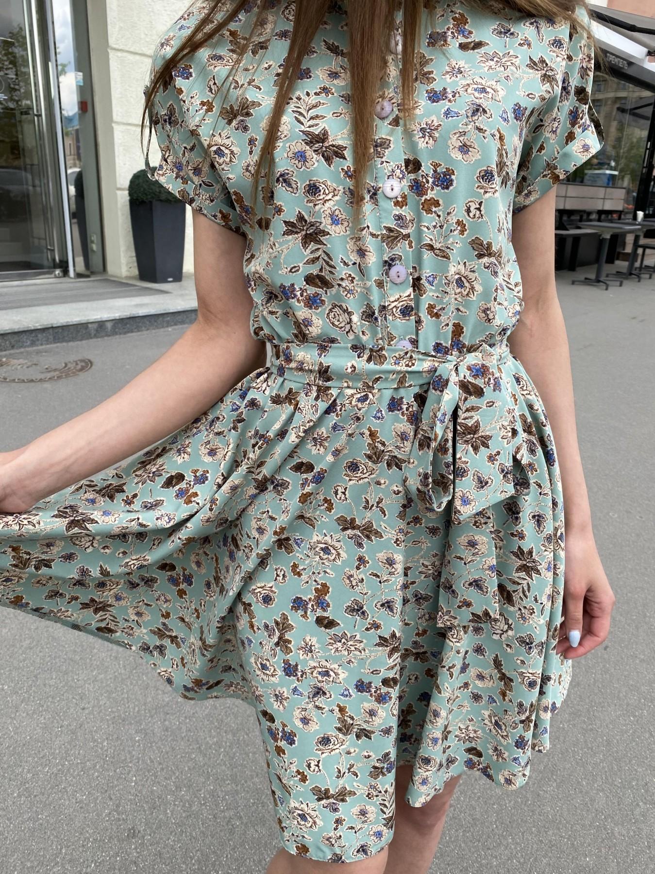 Санжар платье из ткани софт в принт 11215 АРТ. 47727 Цвет: Олива/бежевый, Цветы - фото 4, интернет магазин tm-modus.ru