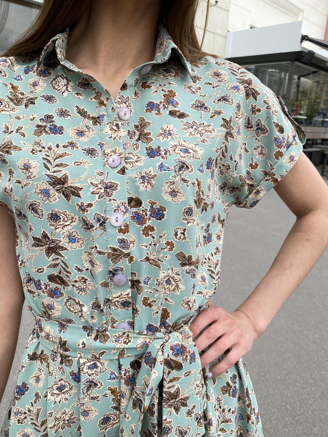 Санжар платье из ткани софт в принт 11215 АРТ. 47727 Цвет: Олива/бежевый, Цветы - фото 5, интернет магазин tm-modus.ru