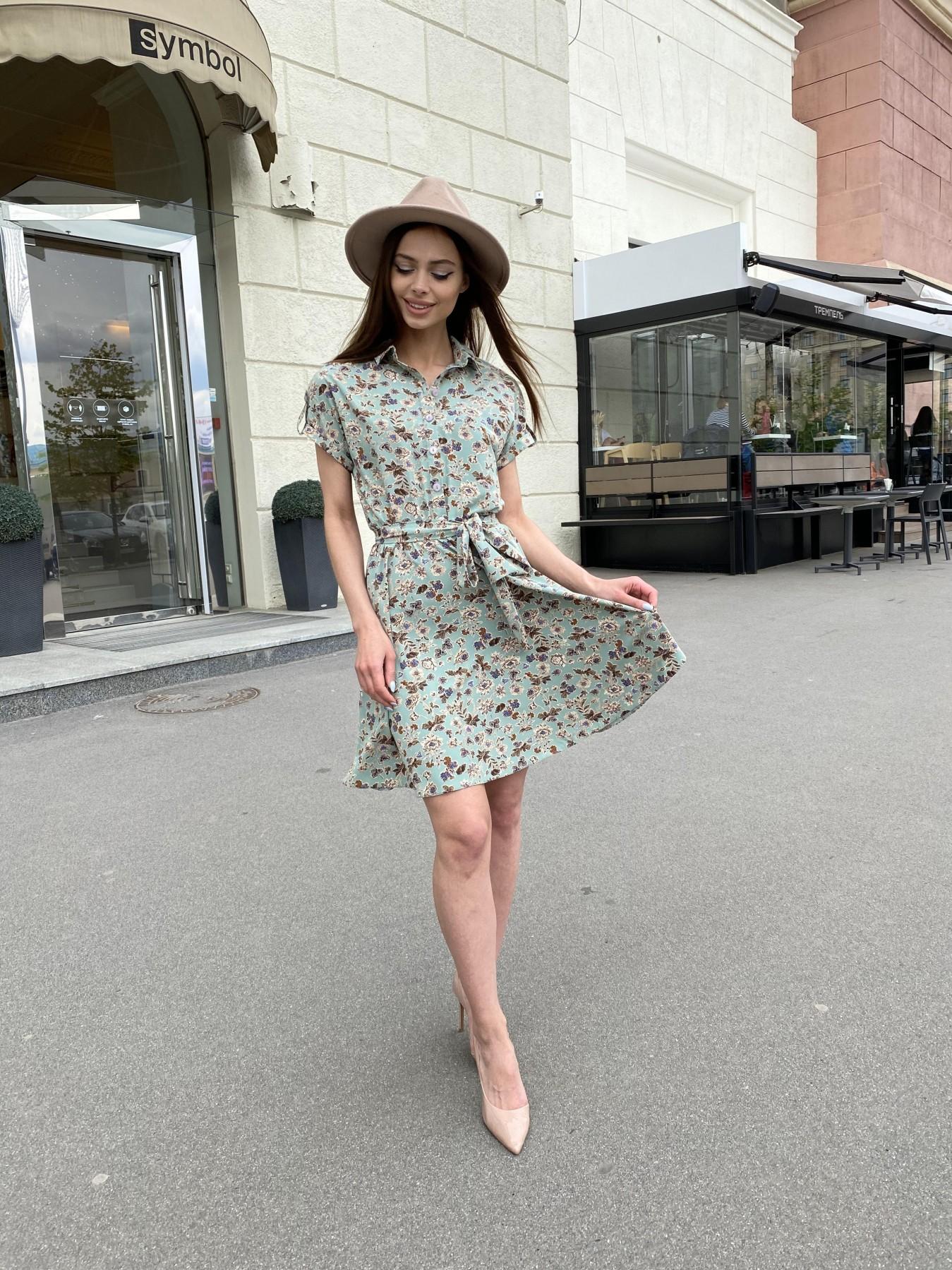 Санжар платье из ткани софт в принт 11215 АРТ. 47727 Цвет: Олива/бежевый, Цветы - фото 6, интернет магазин tm-modus.ru