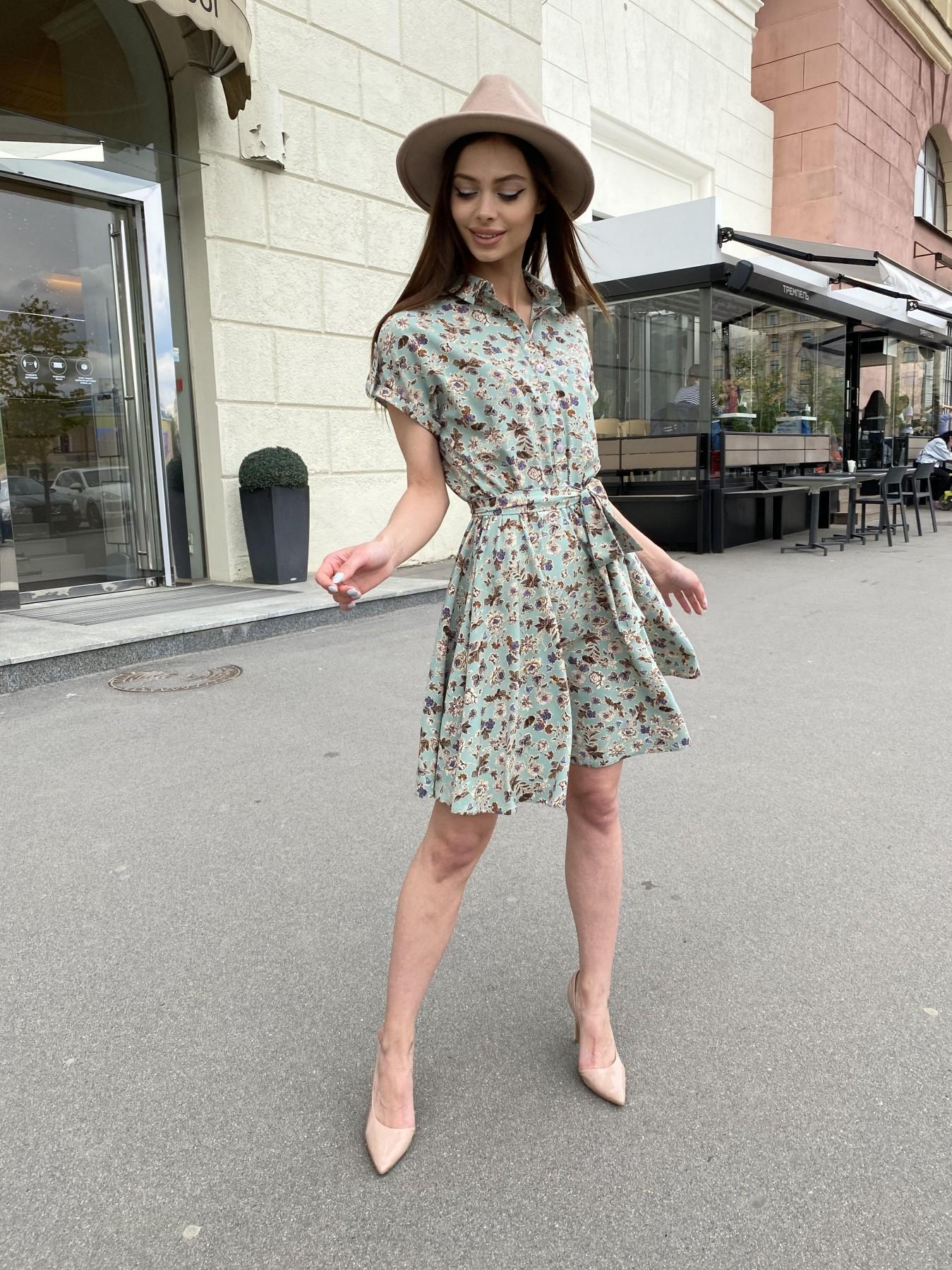Санжар платье из ткани софт в принт 11215 АРТ. 47727 Цвет: Олива/бежевый, Цветы - фото 7, интернет магазин tm-modus.ru
