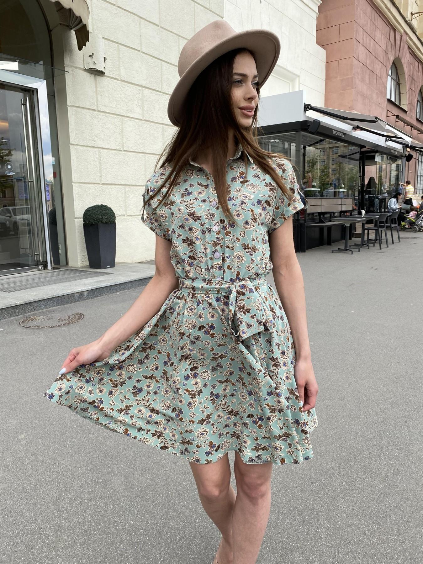 Санжар платье из ткани софт в принт 11215 АРТ. 47727 Цвет: Олива/бежевый, Цветы - фото 8, интернет магазин tm-modus.ru