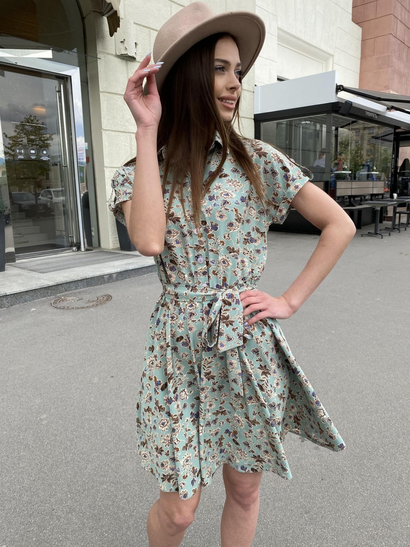 Санжар платье из ткани софт в принт 11215 АРТ. 47727 Цвет: Олива/бежевый, Цветы - фото 10, интернет магазин tm-modus.ru