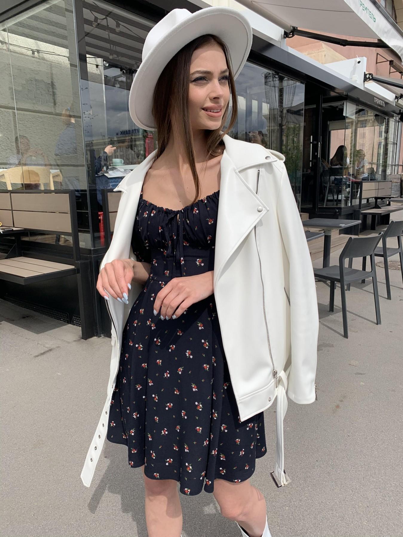 Кисес мини платье c коротким рукавом из штапеля в  принт 11280 АРТ. 47815 Цвет: ЦветБукетМелТ.син/красн - фото 5, интернет магазин tm-modus.ru