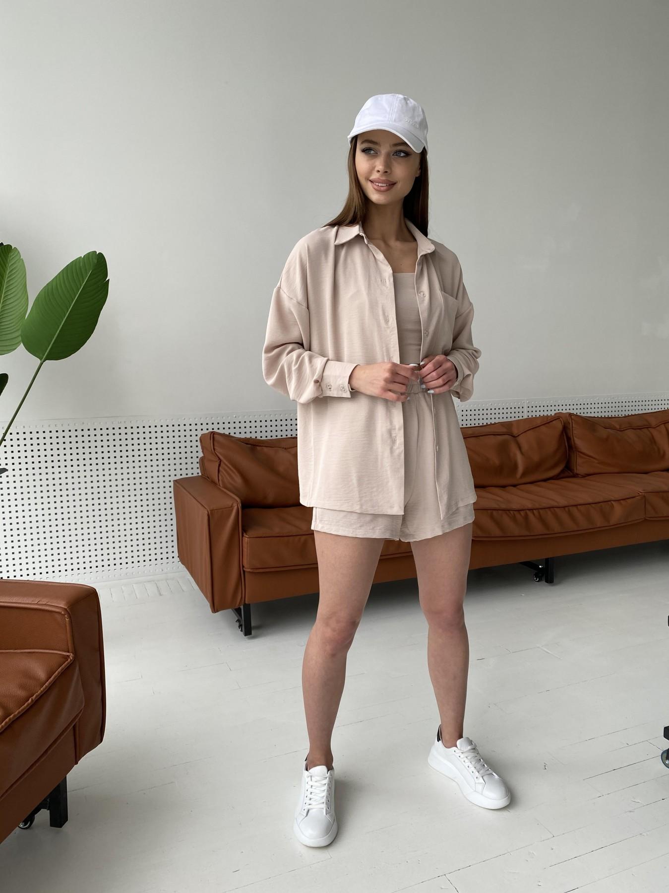 Рико костюм американский из креп ткани 11293 АРТ. 47827 Цвет: Бежевый Светлый - фото 9, интернет магазин tm-modus.ru