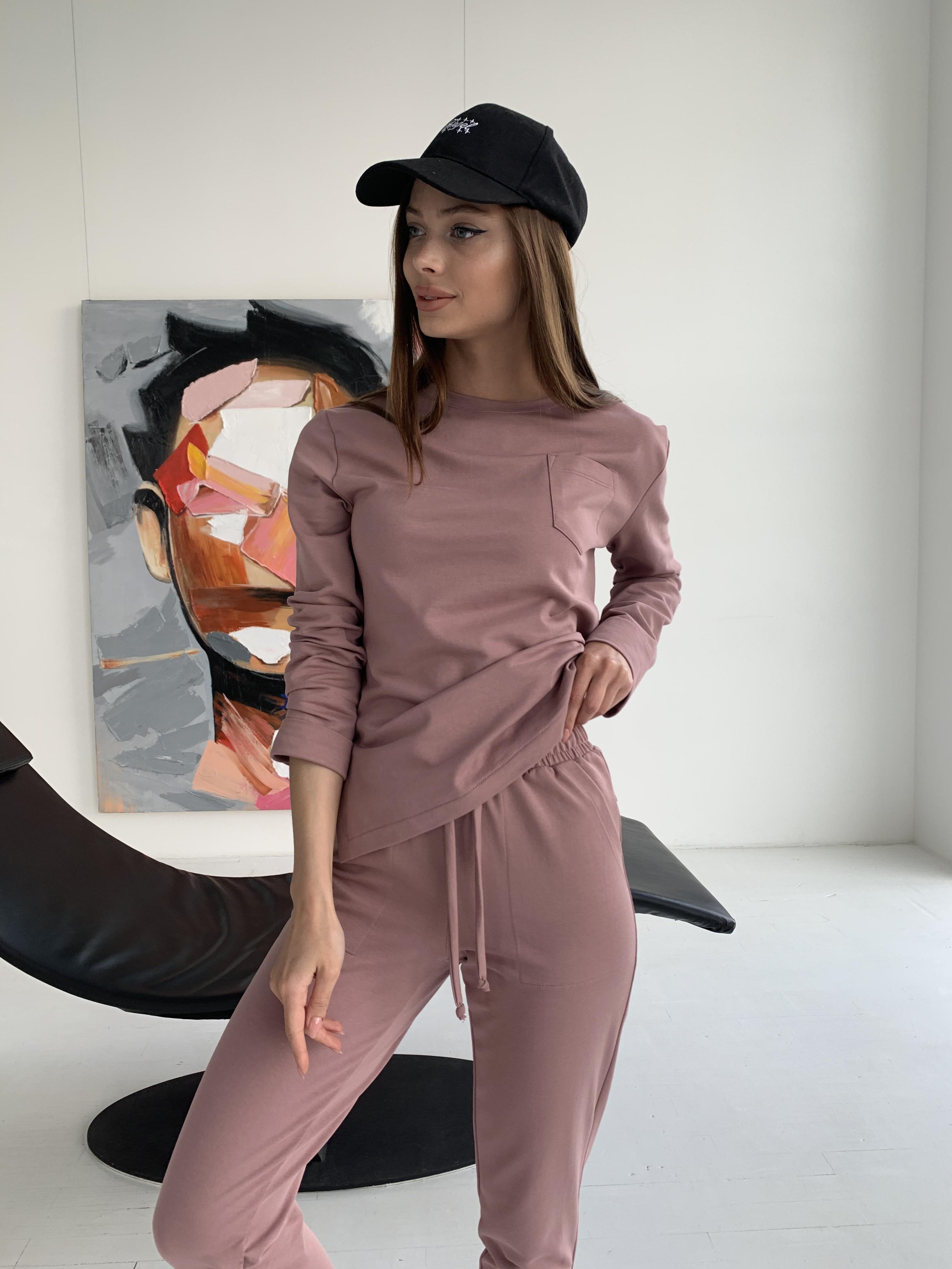 Мови  прогулочный костюм из трикотажа двунитка  9546 АРТ. 46280 Цвет: Пудра Темная - фото 5, интернет магазин tm-modus.ru