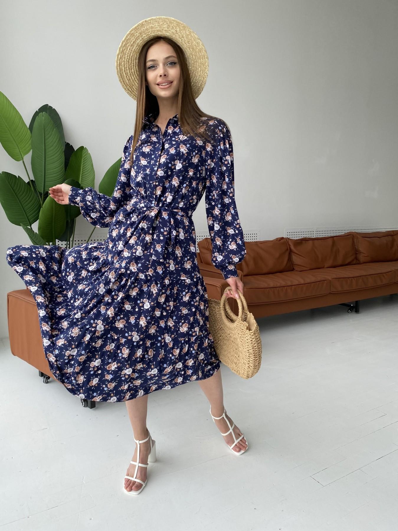 Лилия платье из софта с принтом 11108 АРТ. 47845 Цвет: Т.синий/Розочки - фото 1, интернет магазин tm-modus.ru