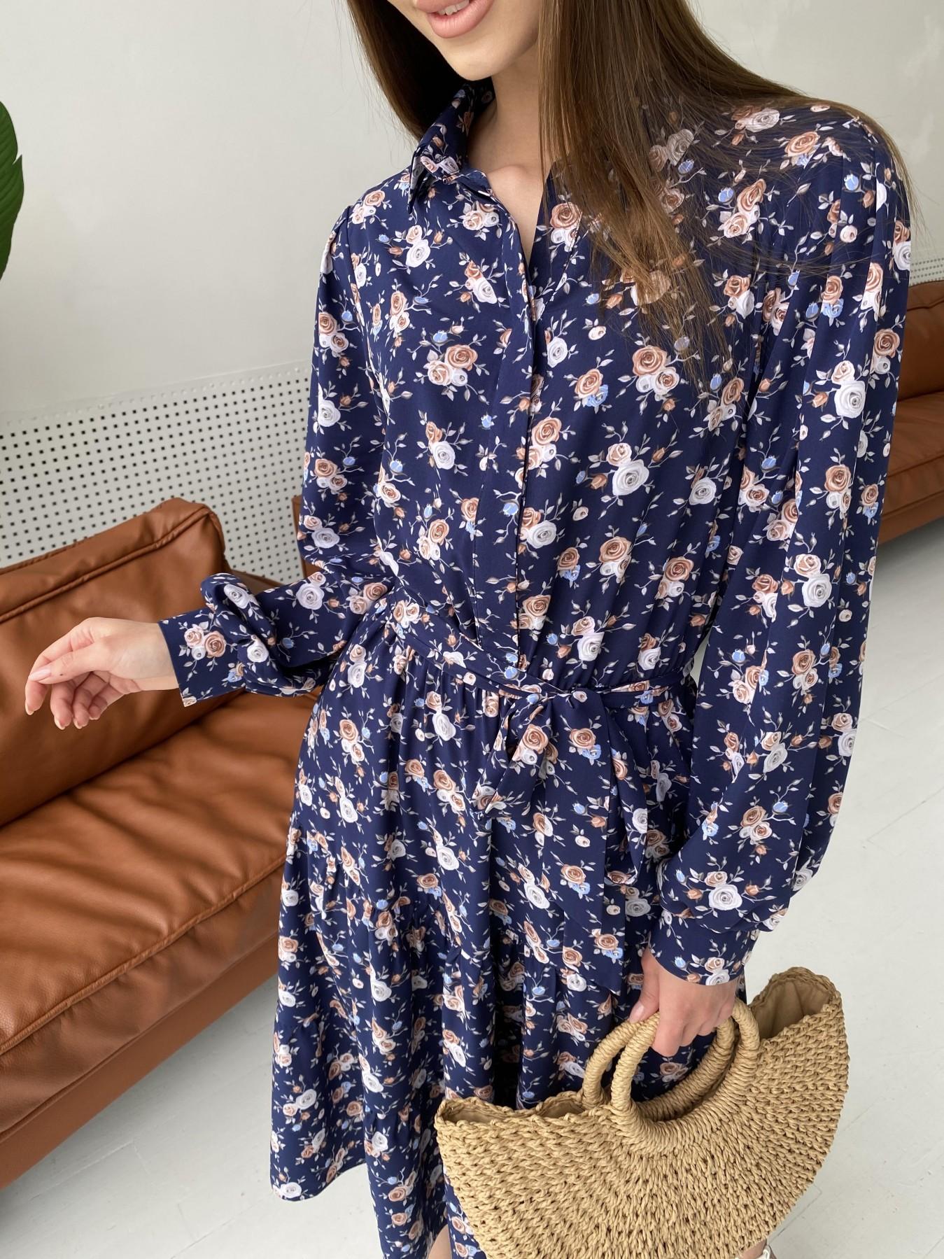 Лилия платье из софта с принтом 11108 АРТ. 47845 Цвет: Т.синий/Розочки - фото 4, интернет магазин tm-modus.ru