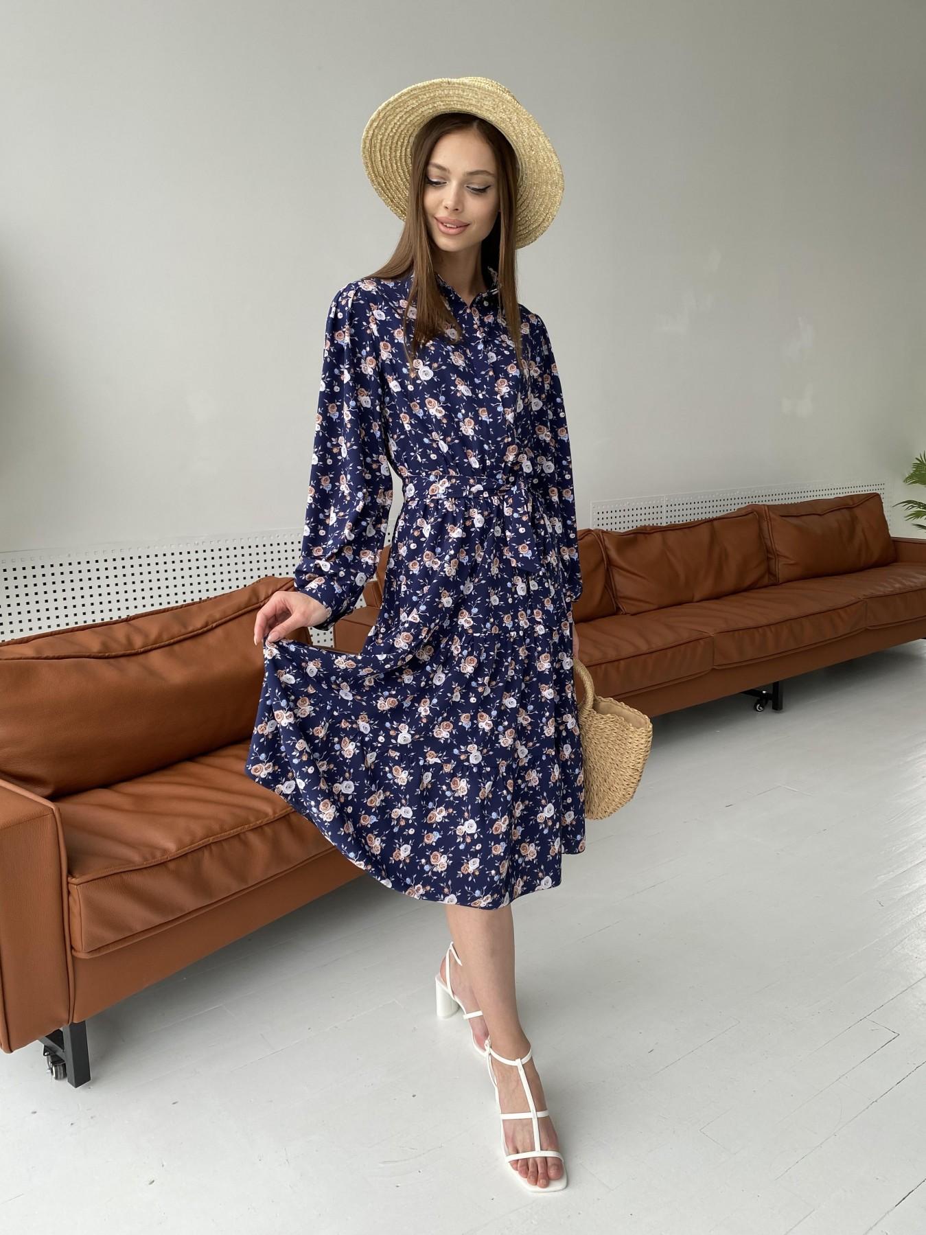 Лилия платье из софта с принтом 11108 АРТ. 47845 Цвет: Т.синий/Розочки - фото 5, интернет магазин tm-modus.ru