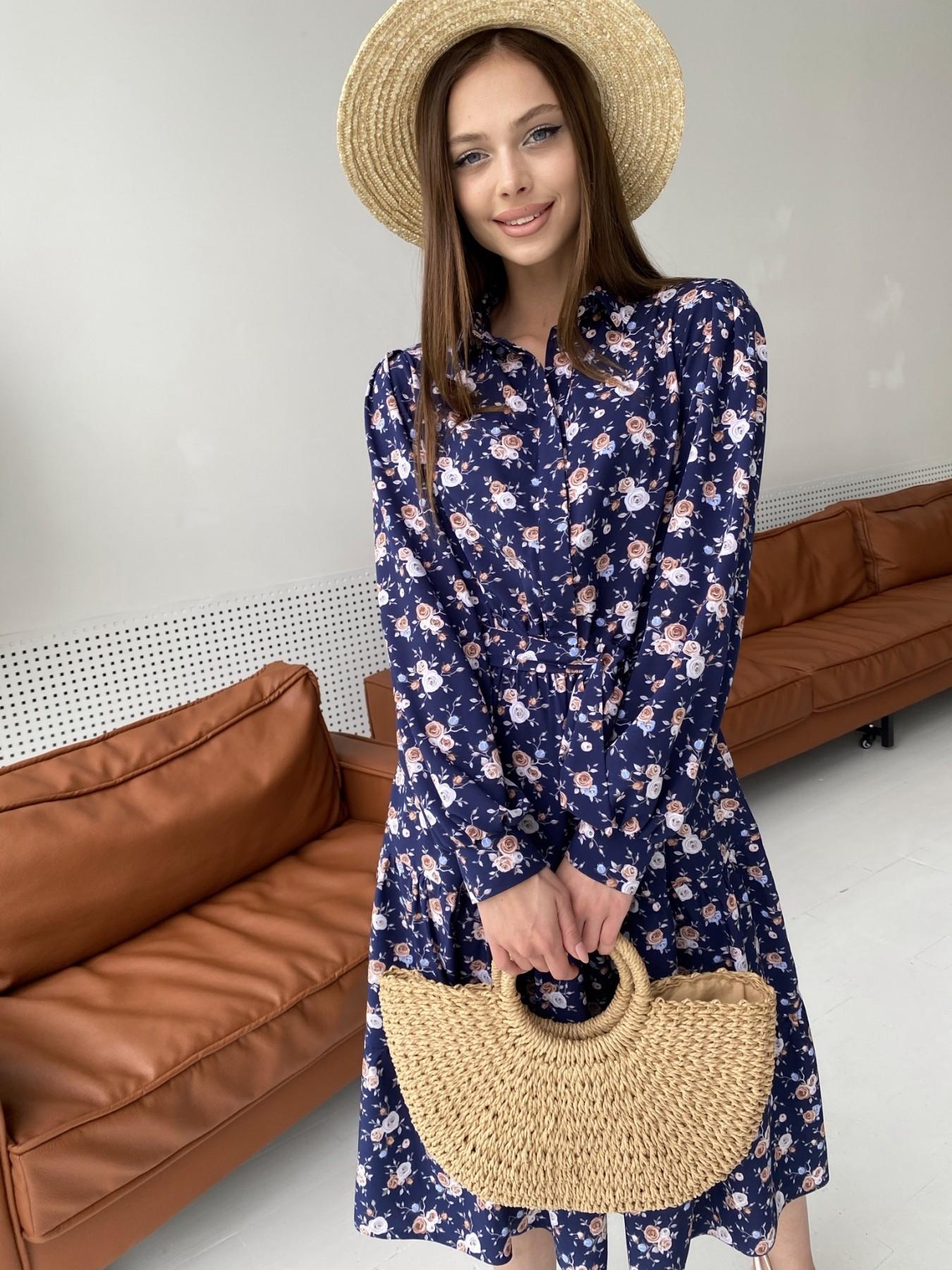 Лилия платье из софта с принтом 11108 АРТ. 47845 Цвет: Т.синий/Розочки - фото 6, интернет магазин tm-modus.ru